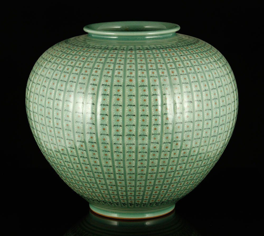 Porcelain Flower Vase Of Chinese Bulbous Pottery Vase with Celadon Glaze and Intricate Floral Inside Pottery