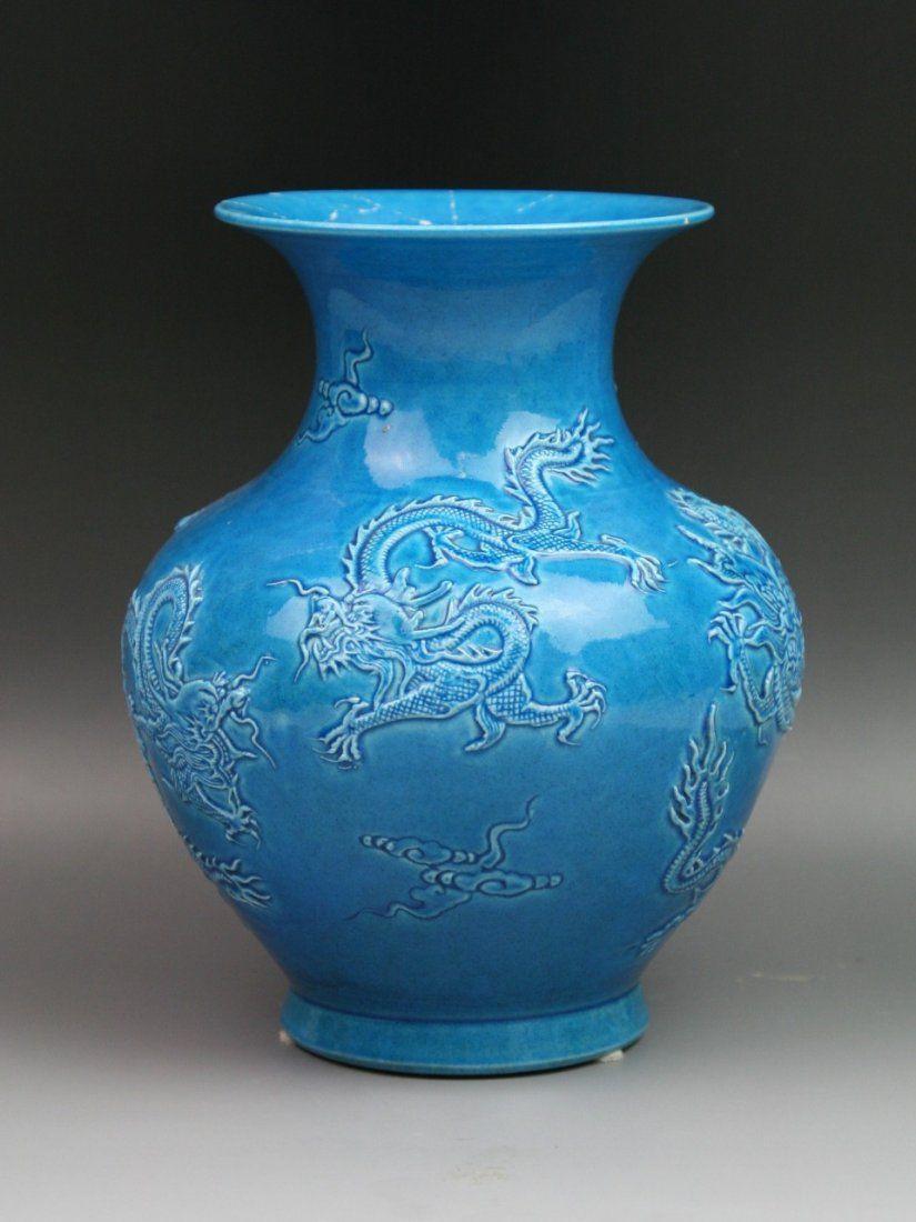 porcelain vases for sale of vintage chinese blue glazed porcelain dragon vase laveil du within vintage chinese blue glazed porcelain dragon vase