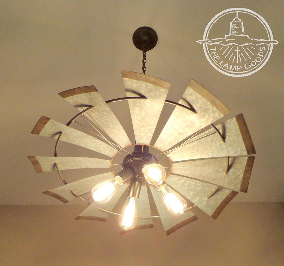 "pottery barn galvanized vase of windmill chandelier lighting fixture original farmhouse etsy regarding dŸ""Žzoom"