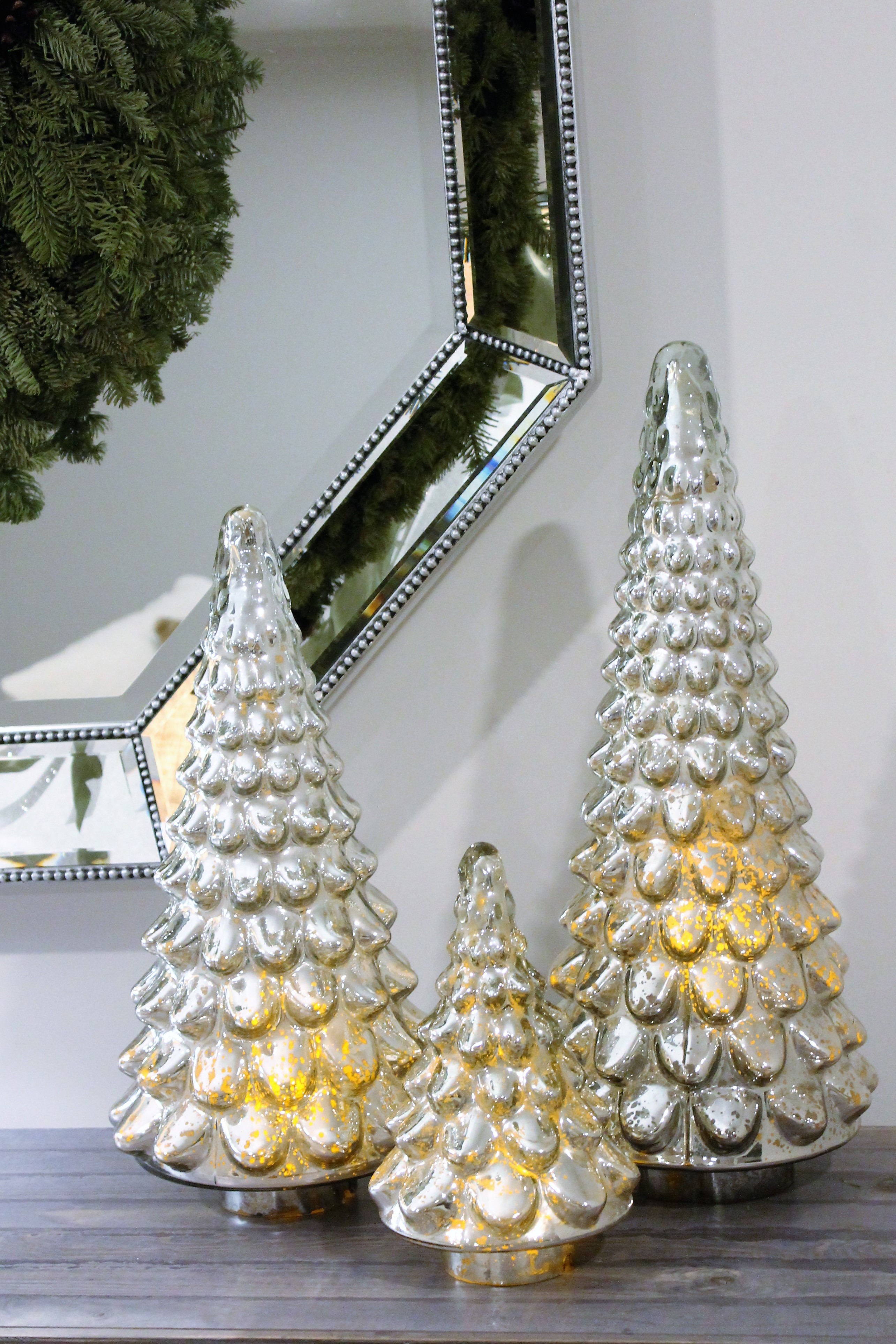 15 Fabulous Pottery Barn Mercury Glass Vase 2021 free download pottery barn mercury glass vase of mercury and silver ornaments pinecones silver garland and fake intended for i added three pottery barn mercury glass trees led flickering candles are place