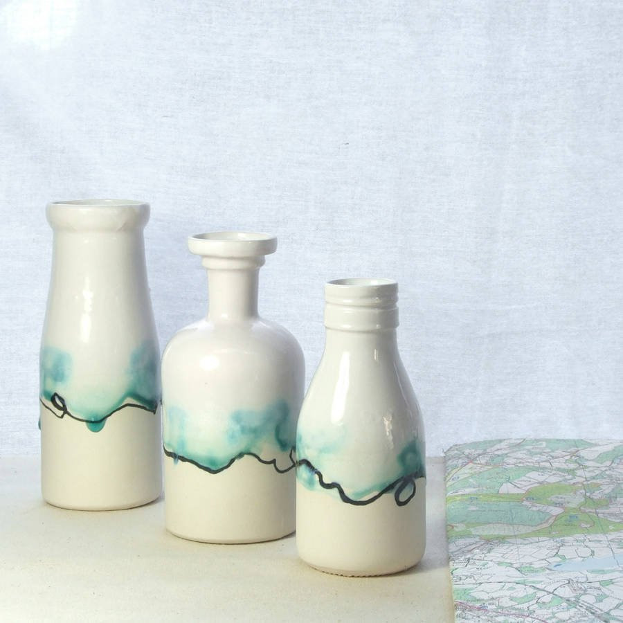 Pottery Craft Usa Vase Of Milk Bottle Vase with Landscape Painting by Helen Rebecca Ceramics for Milk Bottle Vase with Landscape Painting