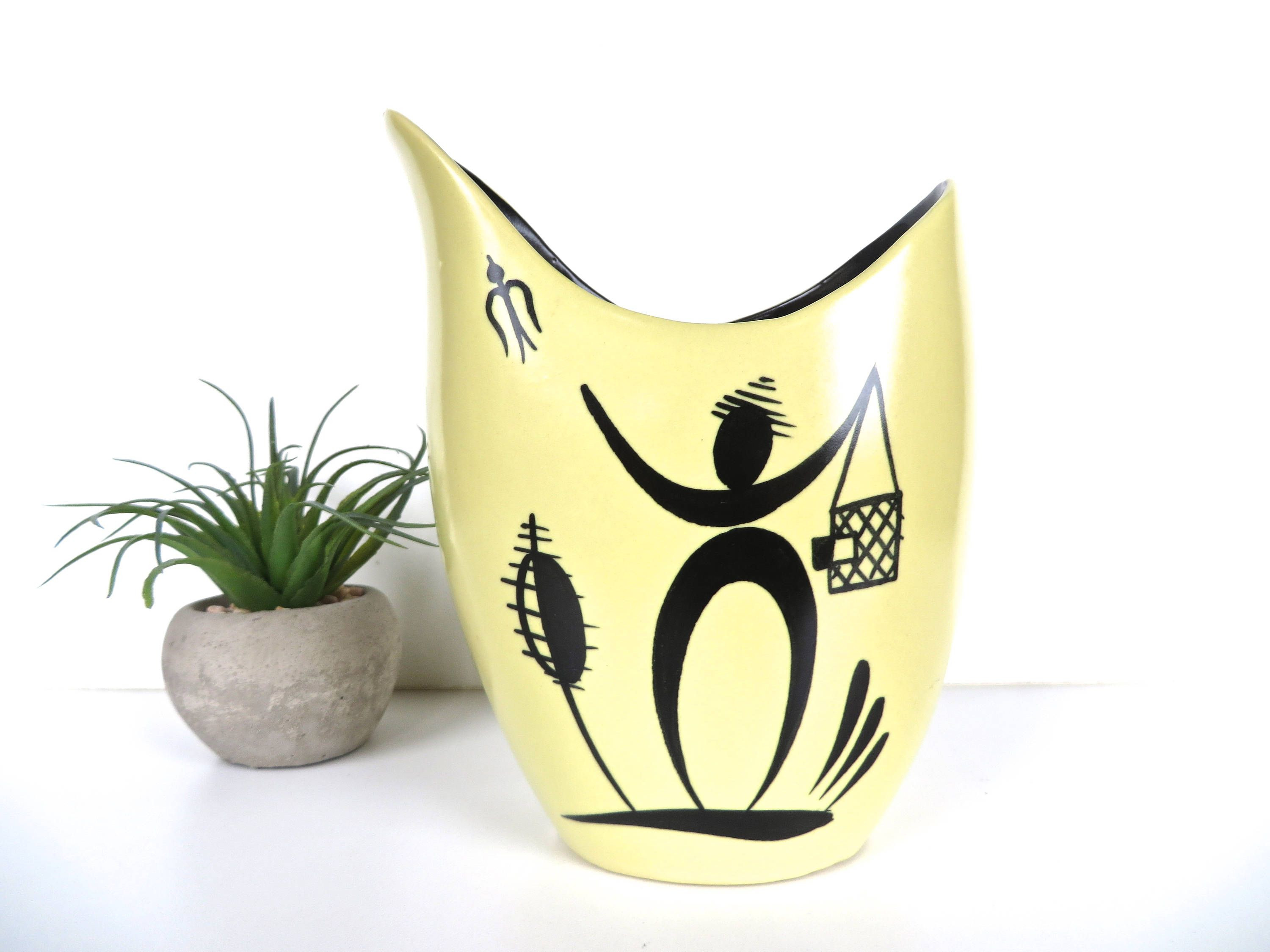 Pottery Craft Usa Vase Of Petrus Regout Maastrich Royal Dutch Art Vase From Holland Wim In Petrus Regout Maastrich Royal Dutch Art Vase From Holland Wim Visser Sphinx Ceramics Holland Yellow and Black Sculptural Vase