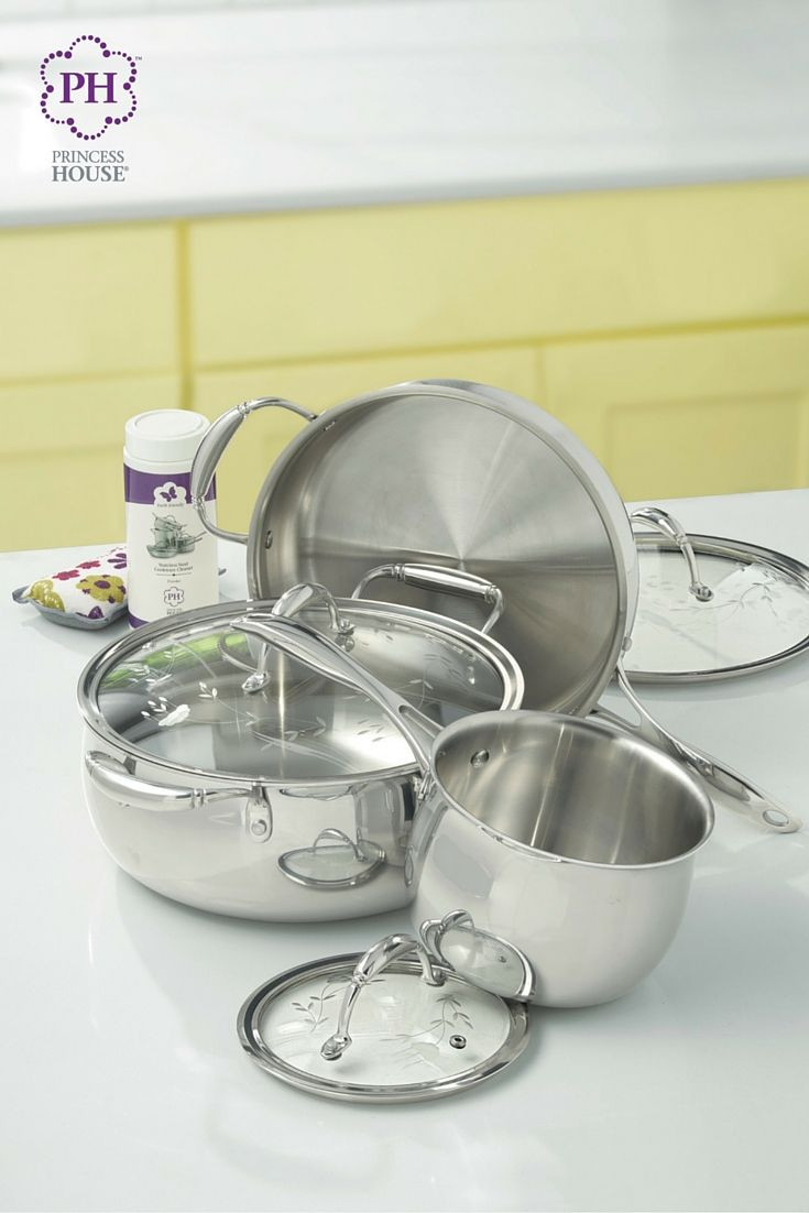 princess house small vase of love the tri ply design for pots and pans the princess heritage throughout the princess heritagea tri ply stainless steel starter set with bonus cleaner and sponge has what you need with one of the best heating element