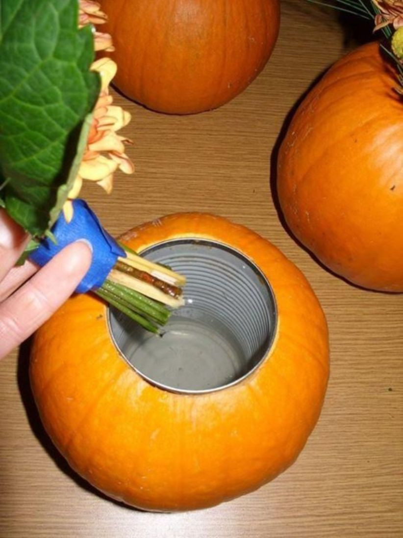 pumpkin vases centerpiece of 44 easy and practical diy fall decor ideas diy decor pinterest inside saturday november 2011 the meanie greene tutorial pumpkin flower arrangement add a can inside a pumpkin to hold water for autumn flowers