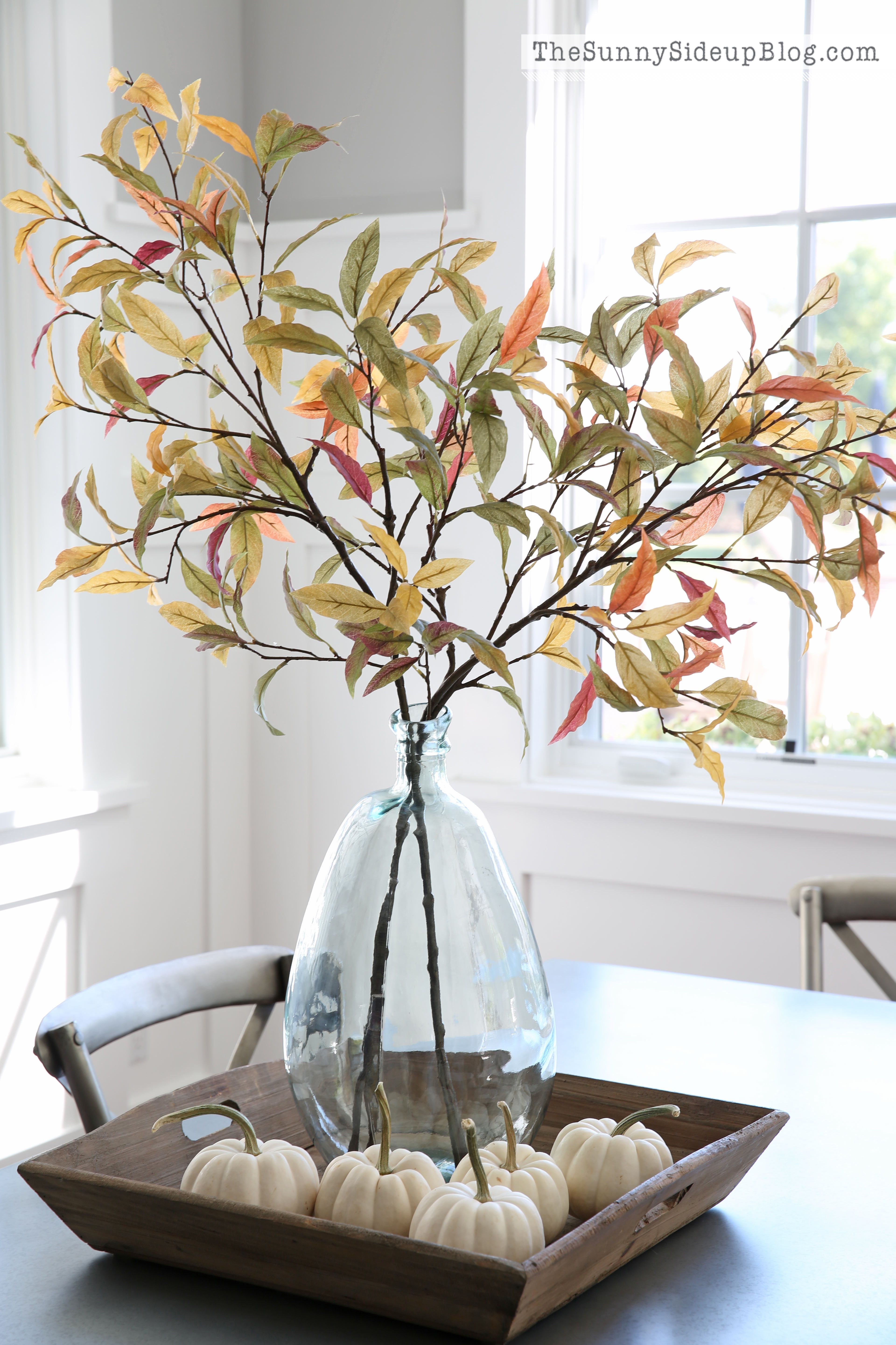 pumpkins as vases for centerpieces of fall into home tour halloween fall pinterest fall decor with pretty fall arrangement branches of fall leaves in a cleat vase with mini white pumpkins in