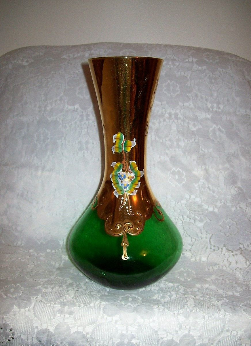 purple and green glass vase of antique hand painted emerald green czech bohemian moser art glass intended for antique hand painted emerald green czech bohemian moser art glass vase just 44 usd bohemian glass pinterest emeralds bohemian and glass