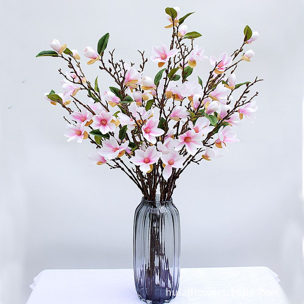 purple artificial flowers in vase of 1 pc fake artificial flowers magnolia floral branch 90cm long inside 1 pc fake magnolia artificial flowers 90cm long magnolia floral branch simulation fl