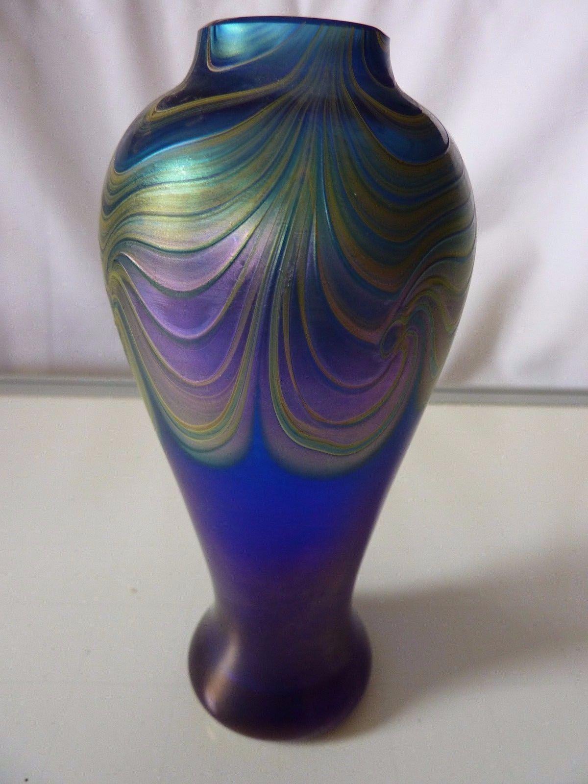 purple ceramic vase of okra glass vase blue and iridescent glassies british okra regarding okra glass vase blue and iridescent ebay