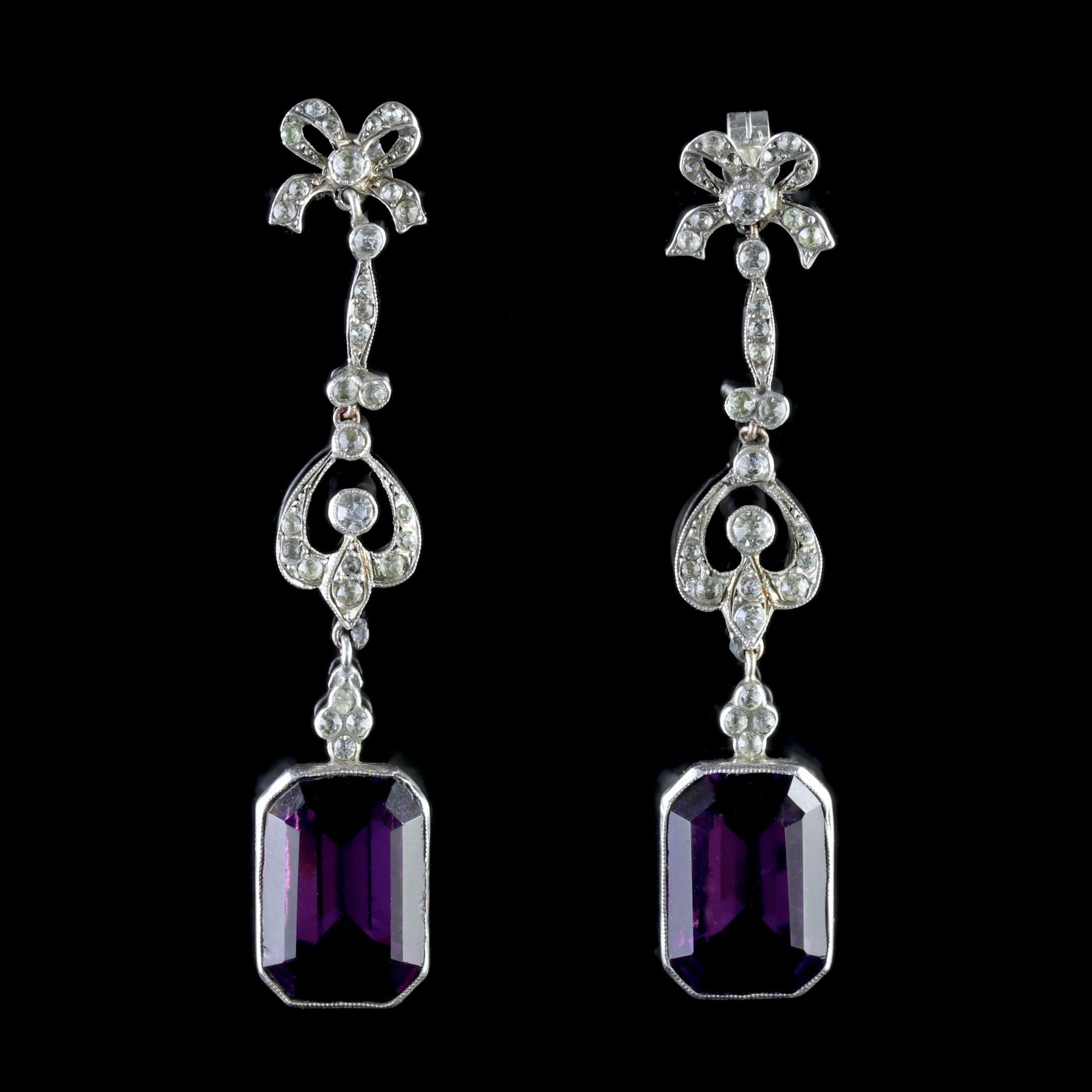purple glass pebbles for vases of art deco purple paste silver long drop earrings c 1930 united throughout art deco purple paste silver long drop earrings