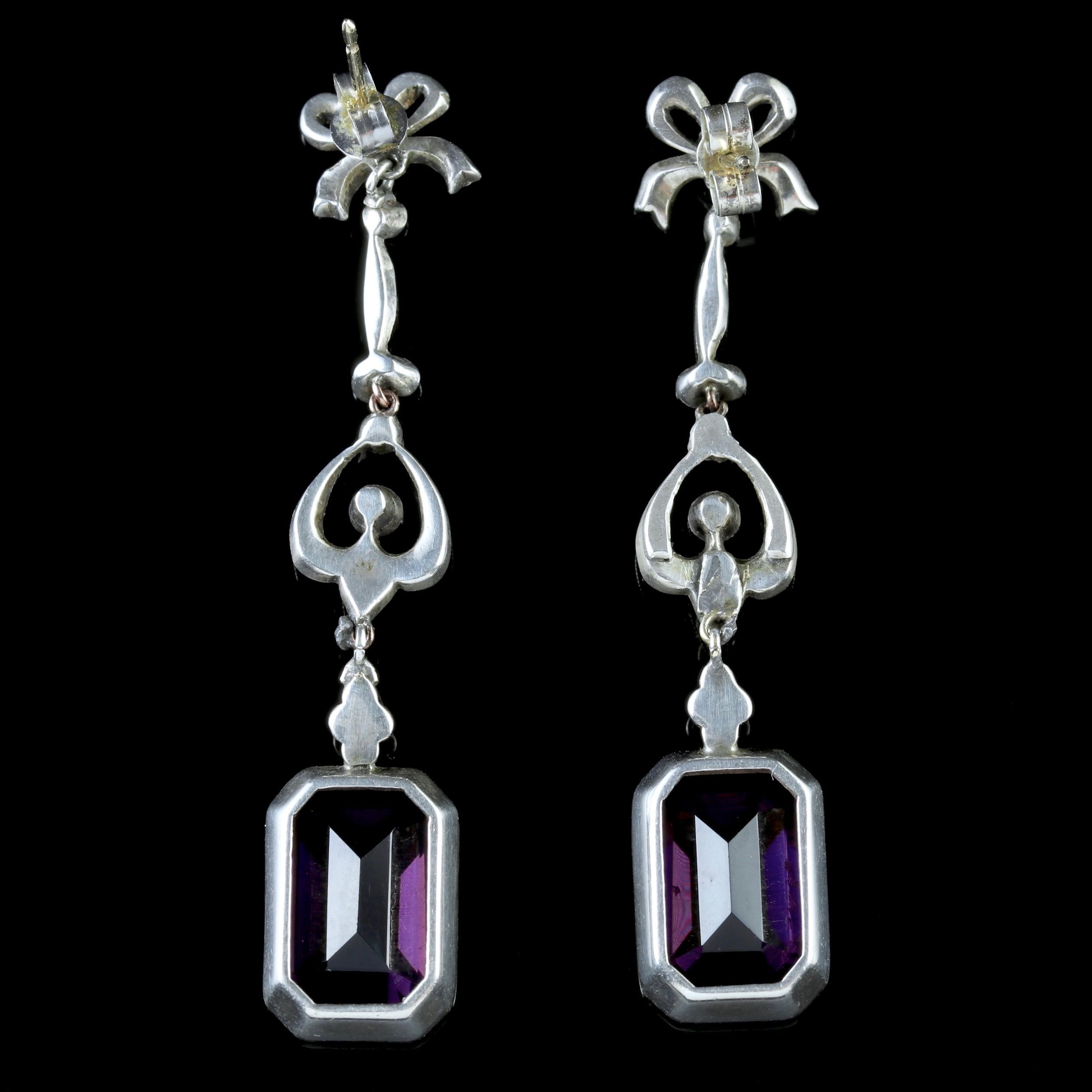 purple glass stones for vases of art deco purple paste silver long drop earrings c 1930 united pertaining to art deco purple paste silver long drop earrings