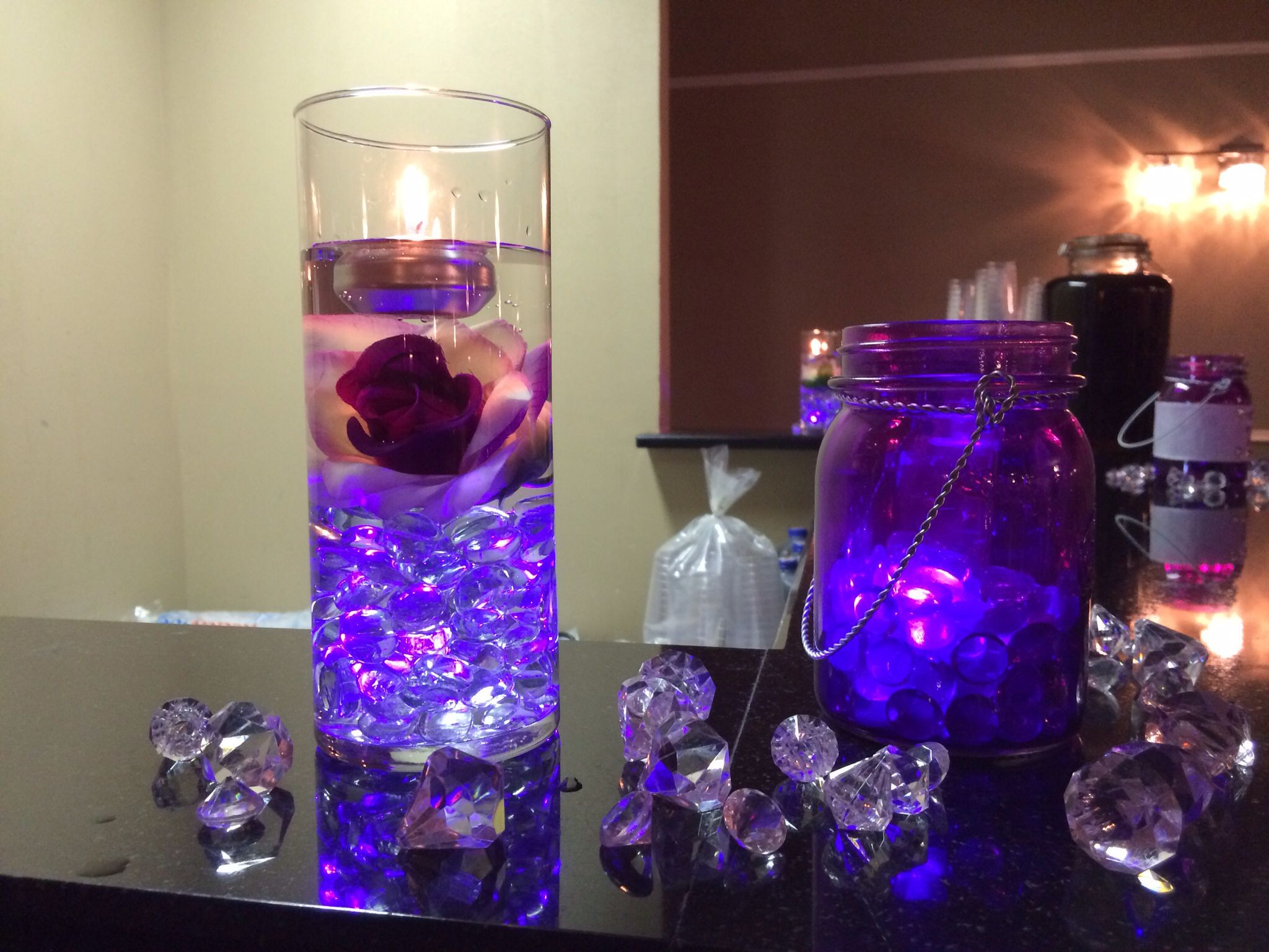 purple glass stones for vases of purple centerpiece with glowing stones submerged flower and with regard to purple centerpiece with glowing stones submerged flower and floating candle purple glowing mason jar centerpiece bowdenwedding bling centerpiece