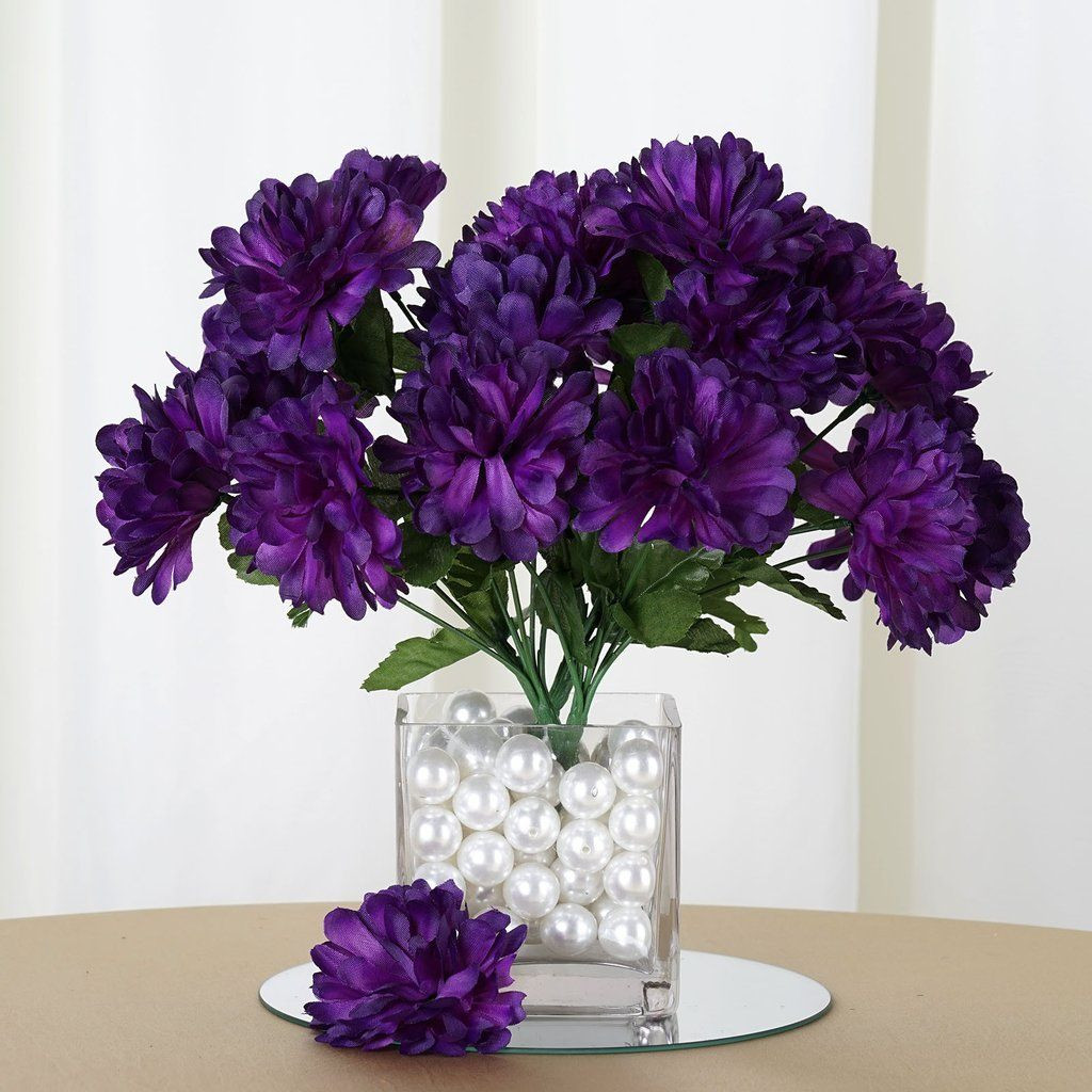 purple orchid vase of purple 12 bushes with 84 artificial silk chrysanthemum flower bush inside 84 artificial purple silk chrysanthemum flowers wedding bridal bouquet vase decoration