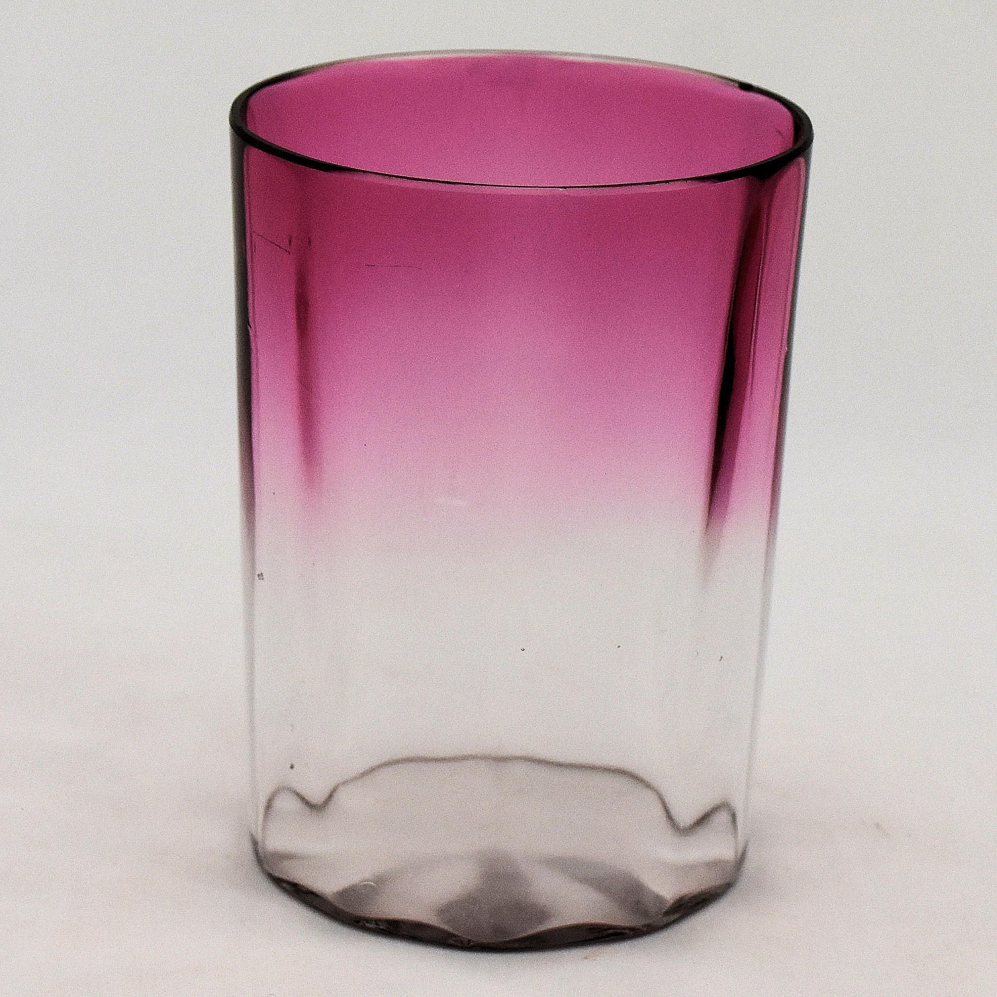 Purple Swirl Vase Of Victorian Cranberry to Clear Glass Tumbler Panel Optic Antik In Victorian Cranberry to Clear Glass Tumbler Panel Optic Valentines Day Gift From Antikavenue On Rubylane Victorian Artglass Cranberry