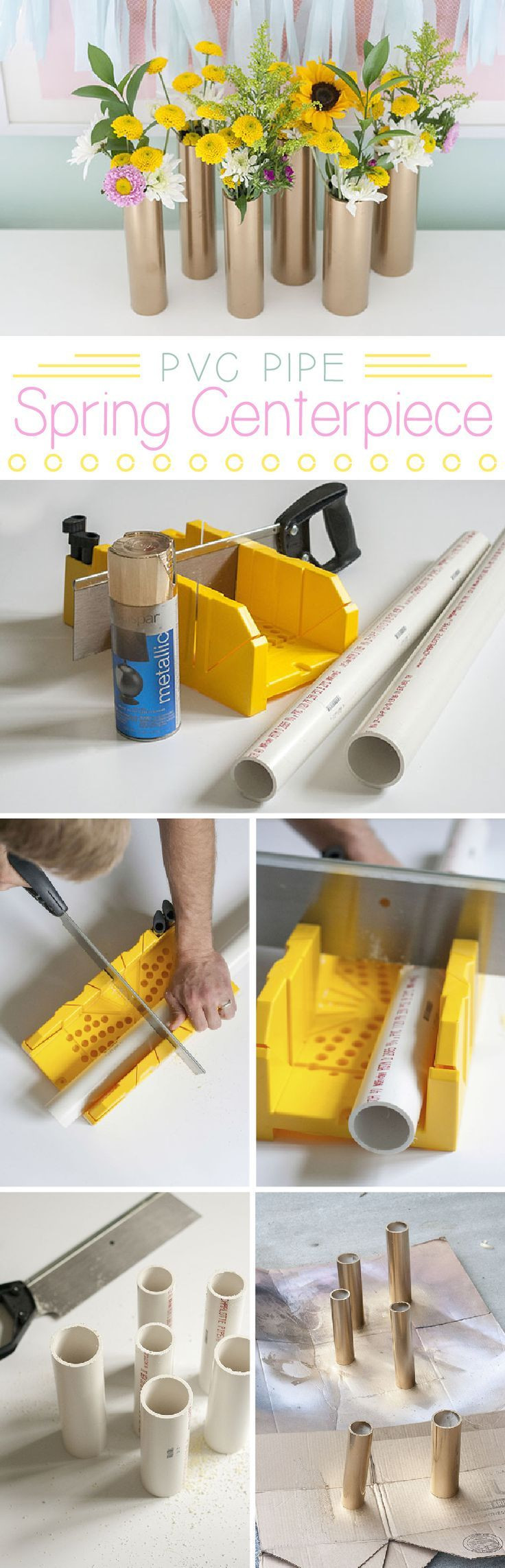 pvc pipe vase of 102 best diy pvc projects images on pinterest pvc pipes decks in make a modern spring centerpiece using just gold spray paint and pvc pipe