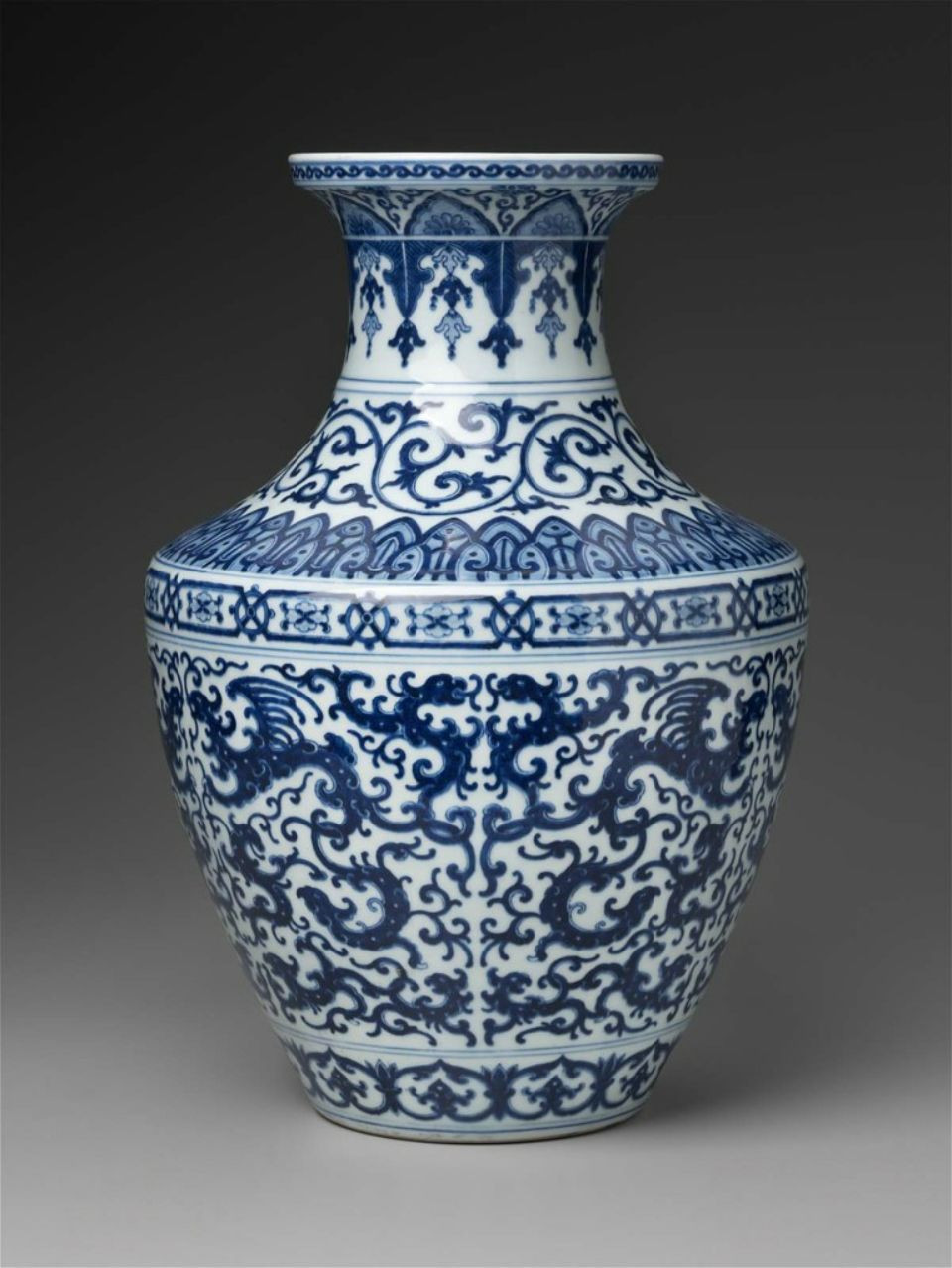 qianlong emperor vase of vase with blue white phoenix winged dragons chinese qing intended for vase with blue white phoenix winged dragons chinese qing dynasty qianlong period 1736 95 porcelain