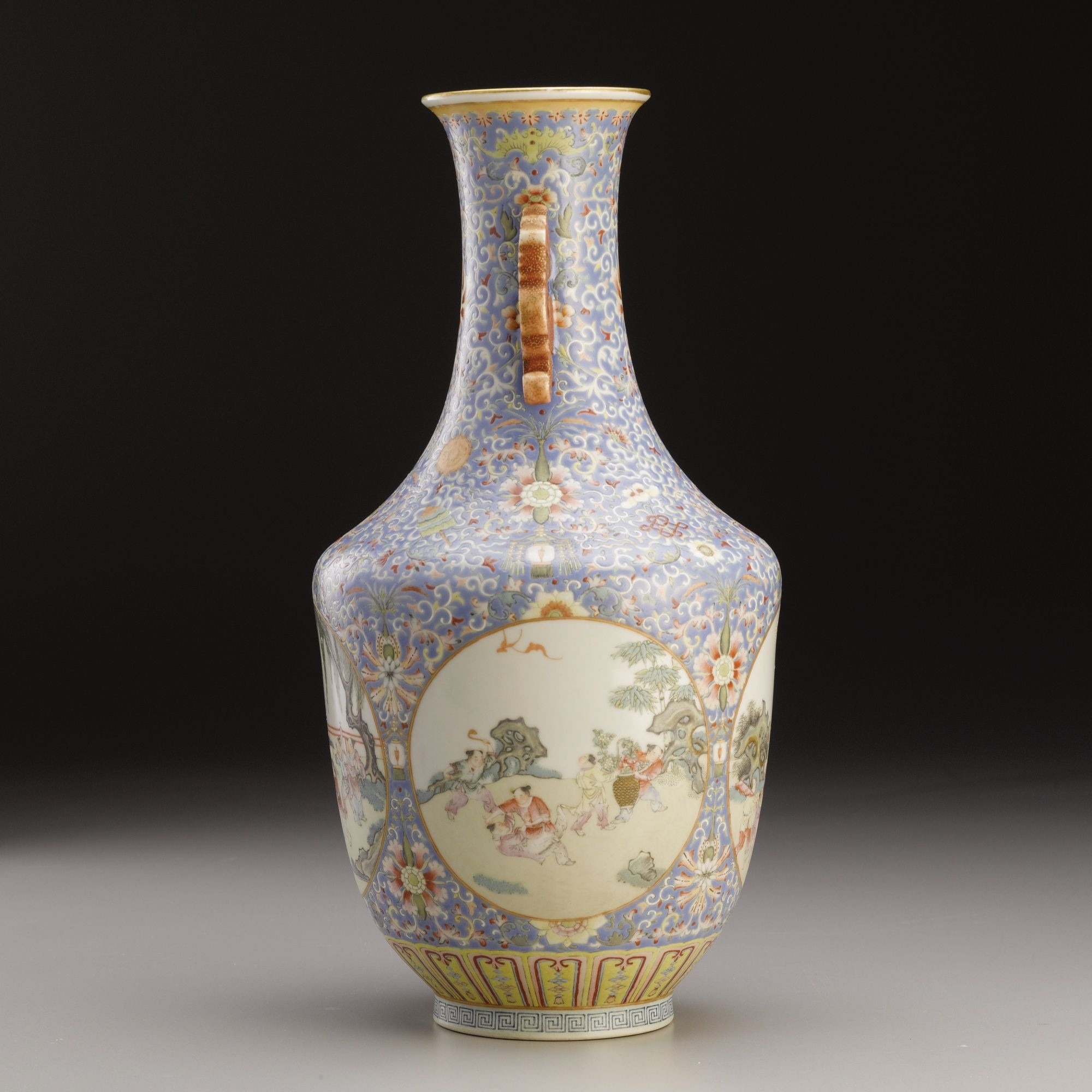 qing dynasty vase of a fine blue ground famille rose vase qing dynasty daoguang for a fine blue ground famille rose vase qing dynasty daoguang