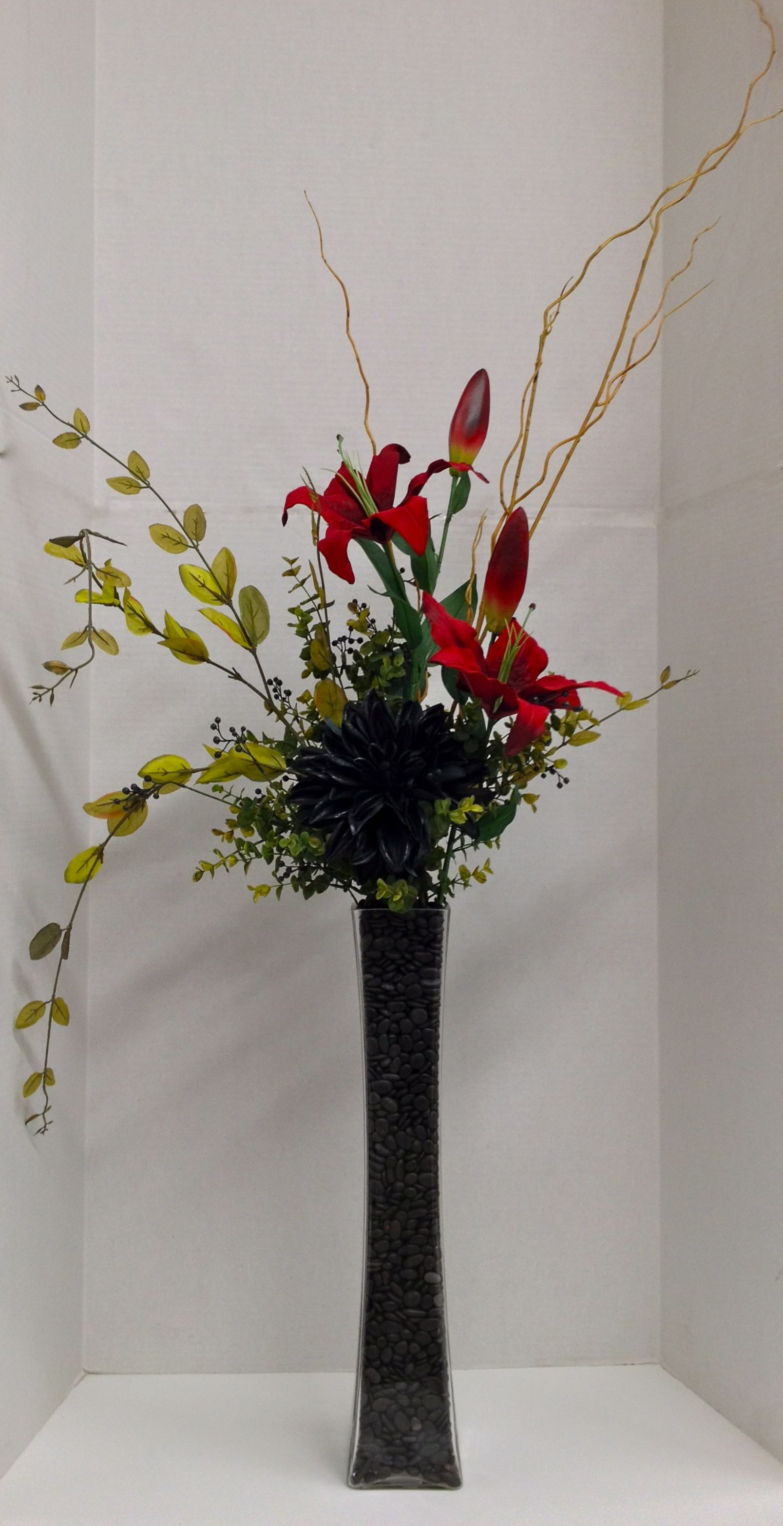 rectangular vases for centerpieces of full of high drama arrangement black dahlia and red lilies with throughout full of high drama arrangement black dahlia and red lilies with willow branch and greens