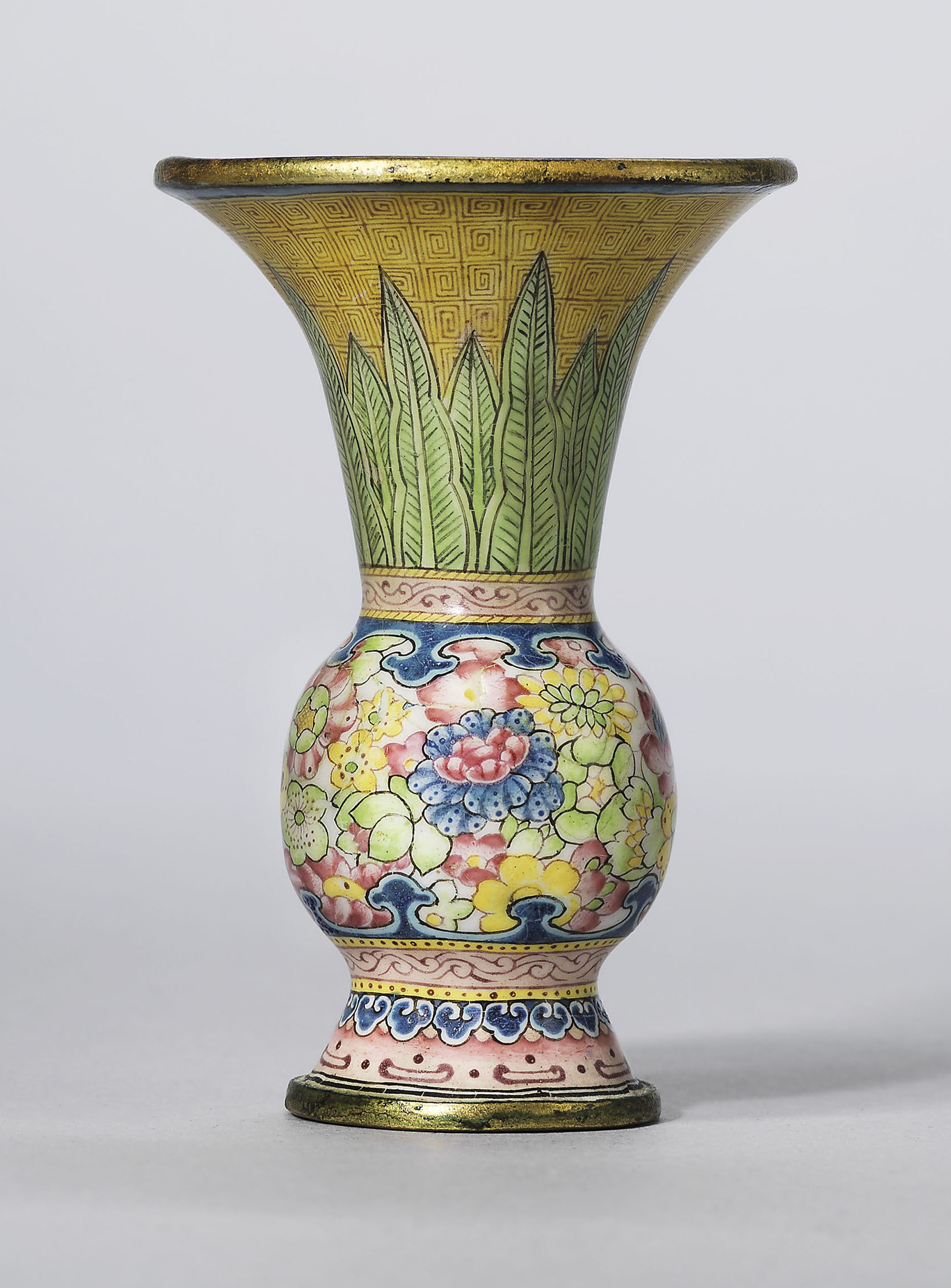 red and gold glass vase of a guide to the symbolism of flowers on chinese ceramics christies with a rare painted enamel gu shaped miniature vase qianlong four character mark in