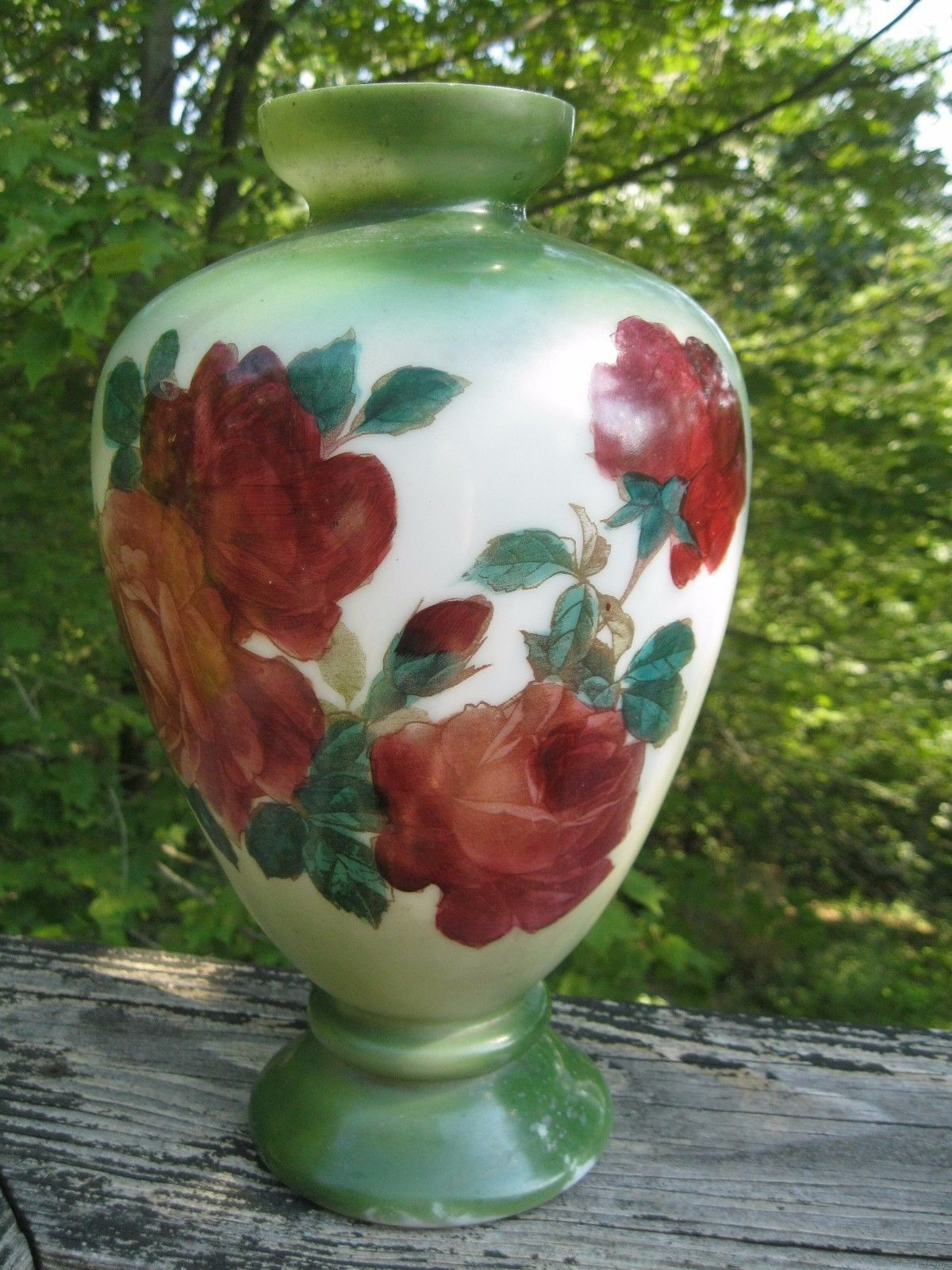 red and yellow glass vase of antique bristol glass vase green w large red roses lovely victorian throughout antique bristol glass vase green w large red roses lovely victorian 12 vintage ebay
