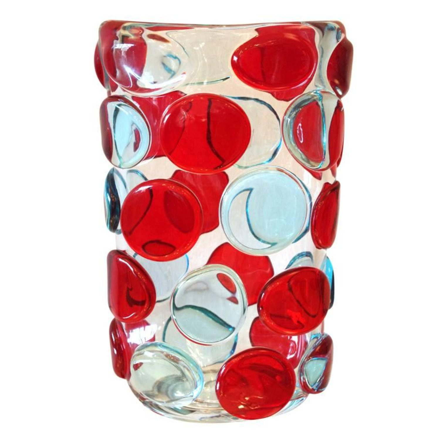 Red Blown Glass Vase Of Camozzo 1990 Modern Black Azure Blue Red Pink Yellow Murano Glass Throughout Camozzo 1990 Modern Black Azure Blue Red Pink Yellow Murano Glass Vases for Sale at 1stdibs