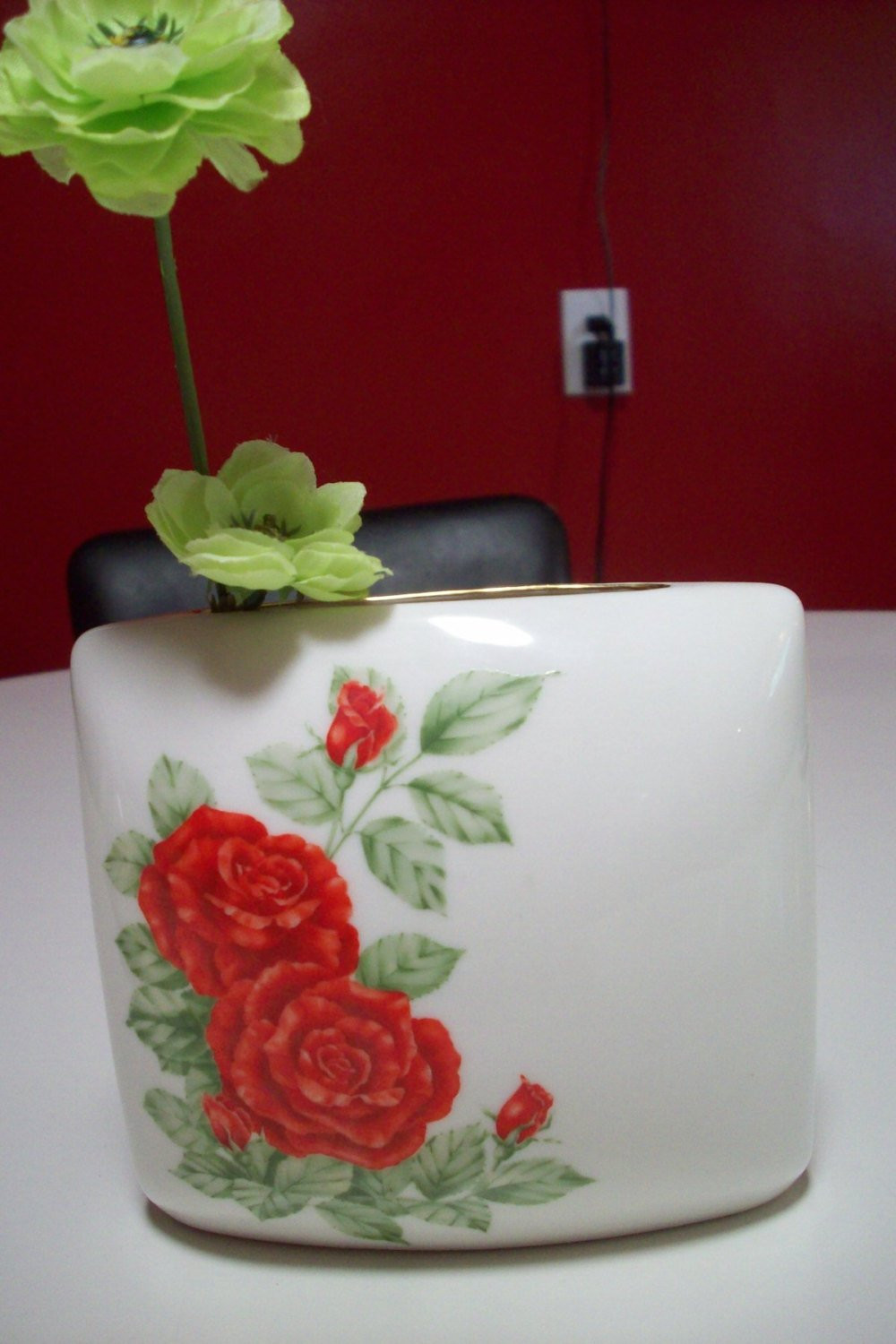 red glass bud vase of red rose vase andrea by sadek made in japan with gold trim etsy in image 0