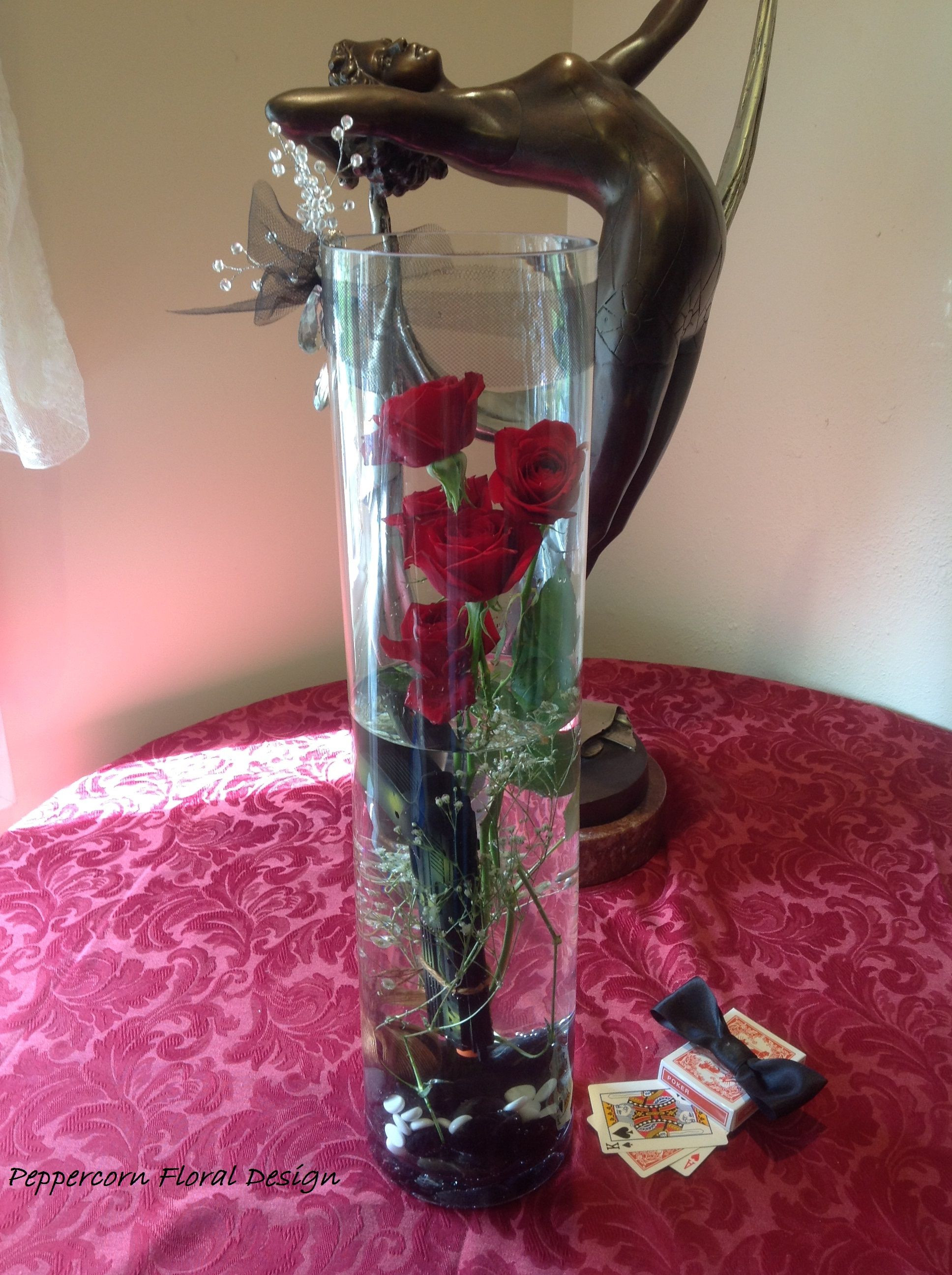 Red Glass Flower Vase Of Art Deco Lady Bronze Statue with Glass Cylinder Vase Flower for Art Deco Lady Bronze Statue with Glass Cylinder Vase Flower Arrangement for Red Black and White Gangster theme Murder Mystery Party Add Cards and Bow Tie