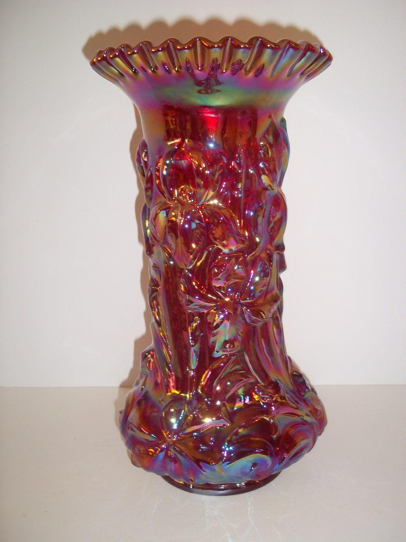 red glass vase of fenton art glass ruby red carnival iridized heavy iris vase 12 regarding fentonartglassrubyredcarnivaliridizedheavy