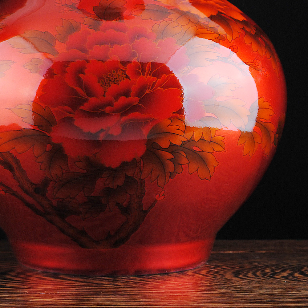 red glass vases for sale of chinese style crystal glaze ceramic red peony vase porcelain vases for chinese style crystal glaze ceramic red peony vase porcelain vases for artificial flower decoration vases in vases from home garden on aliexpress com