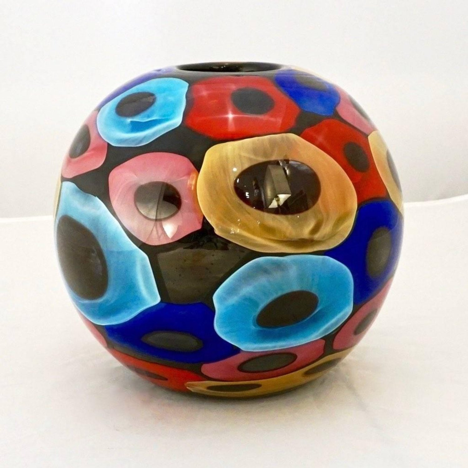 red hand blown glass vase of camozzo 1990 modern black azure blue red pink yellow murano glass with regard to camozzo 1990 modern black azure blue red pink yellow murano glass vases for sale at 1stdibs