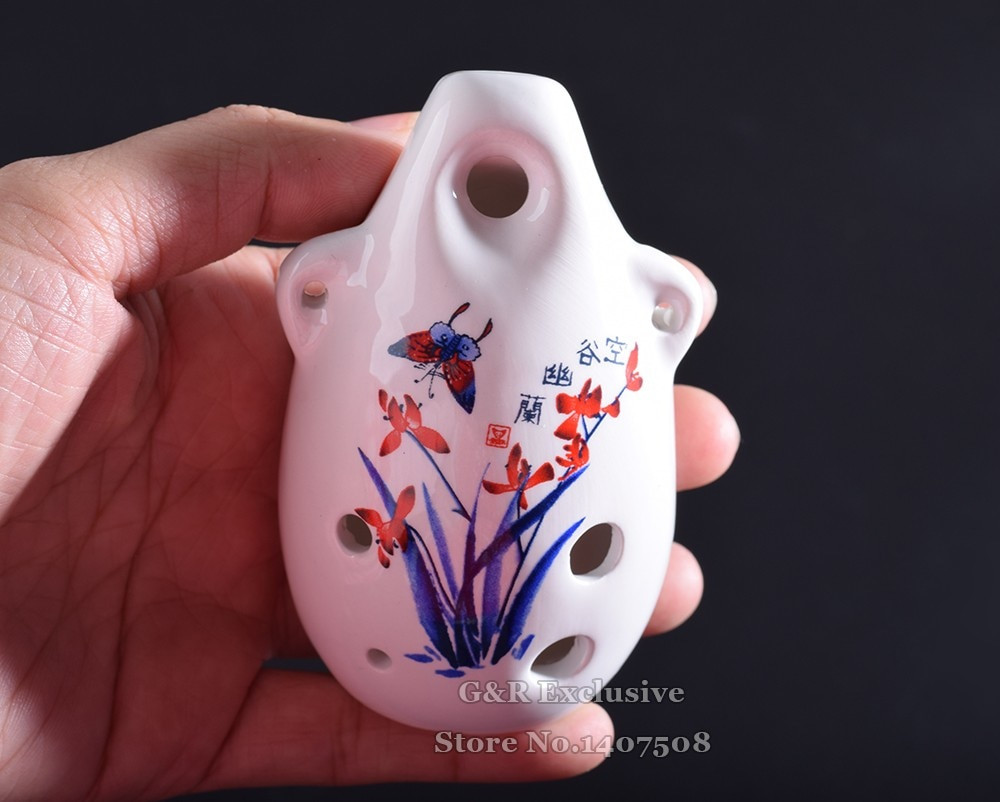 red pottery vase of chinese ceramic ocarina flute mini glazed alto c wind toy musical pertaining to aeproduct