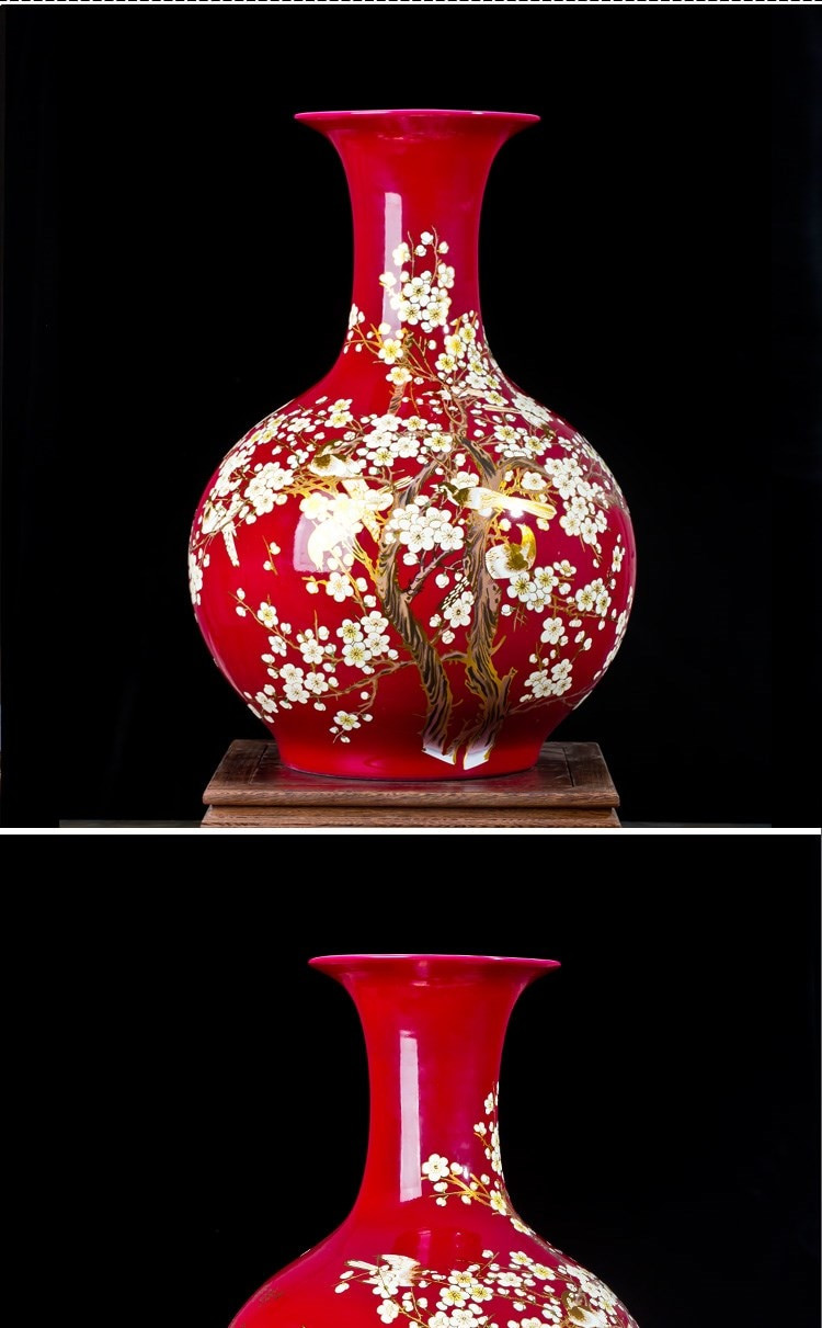 red pottery vase of jingdezhen chinese red ground large sized ceramic vase the magpies with 12 13 15 16