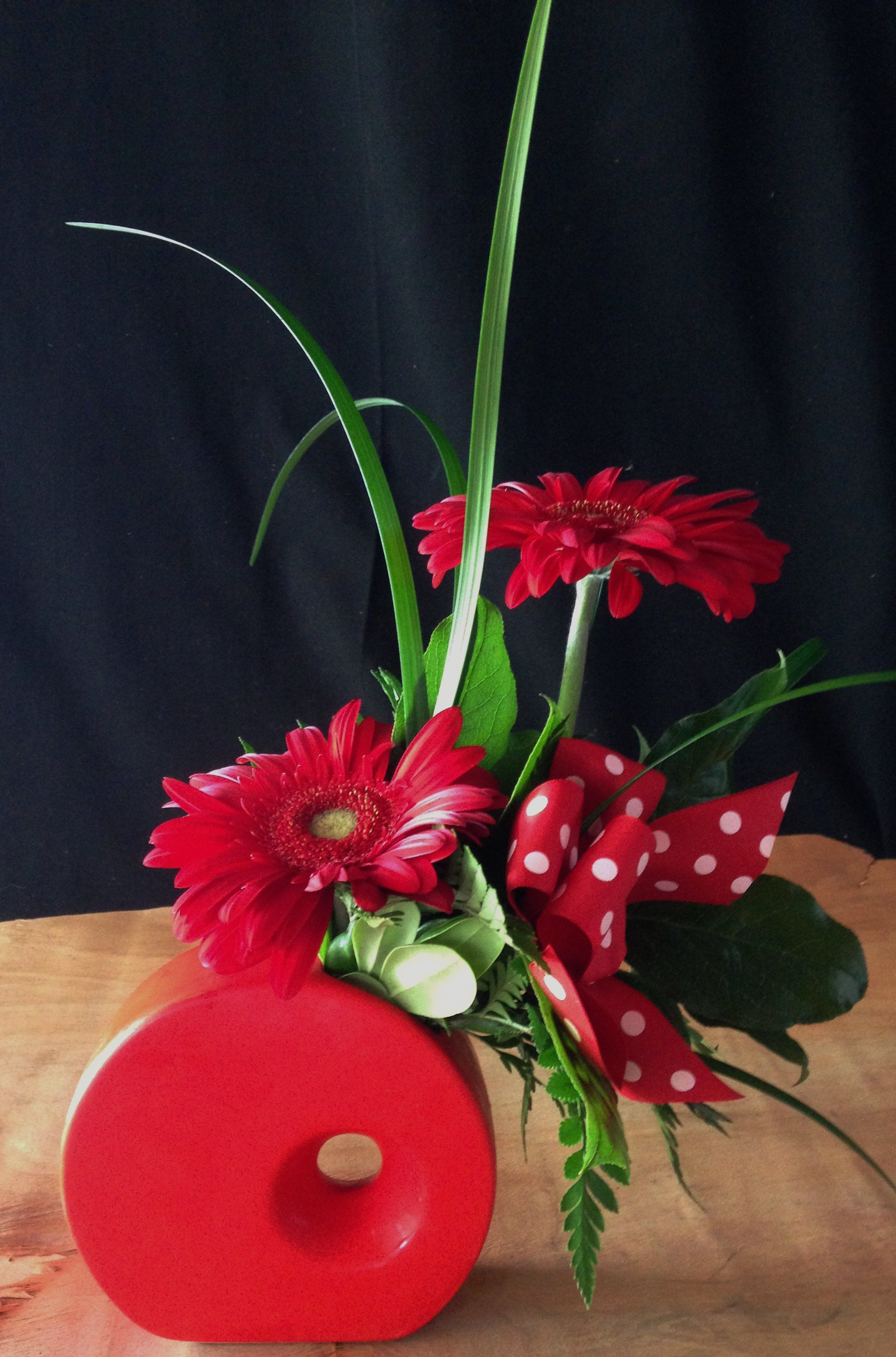 red pottery vase of red ceramic vase image funky red ceramic vase filled with red regarding funky red ceramic vase filled with red gerbera daisies and a polka