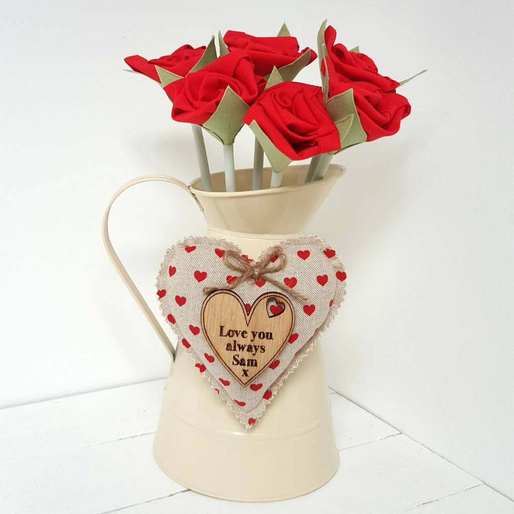 red rose vase of cotton anniversary red roses in jug with engraved tag by little in cotton anniversary red roses in jug with engraved tag