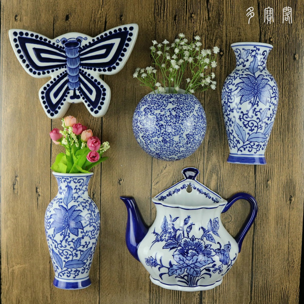 red wing vase of jingdezhen ceramics painted blue and white flower bottle hanging in jingdezhen ceramics painted blue and white flower bottle hanging wall decorative pendant ornaments wall v