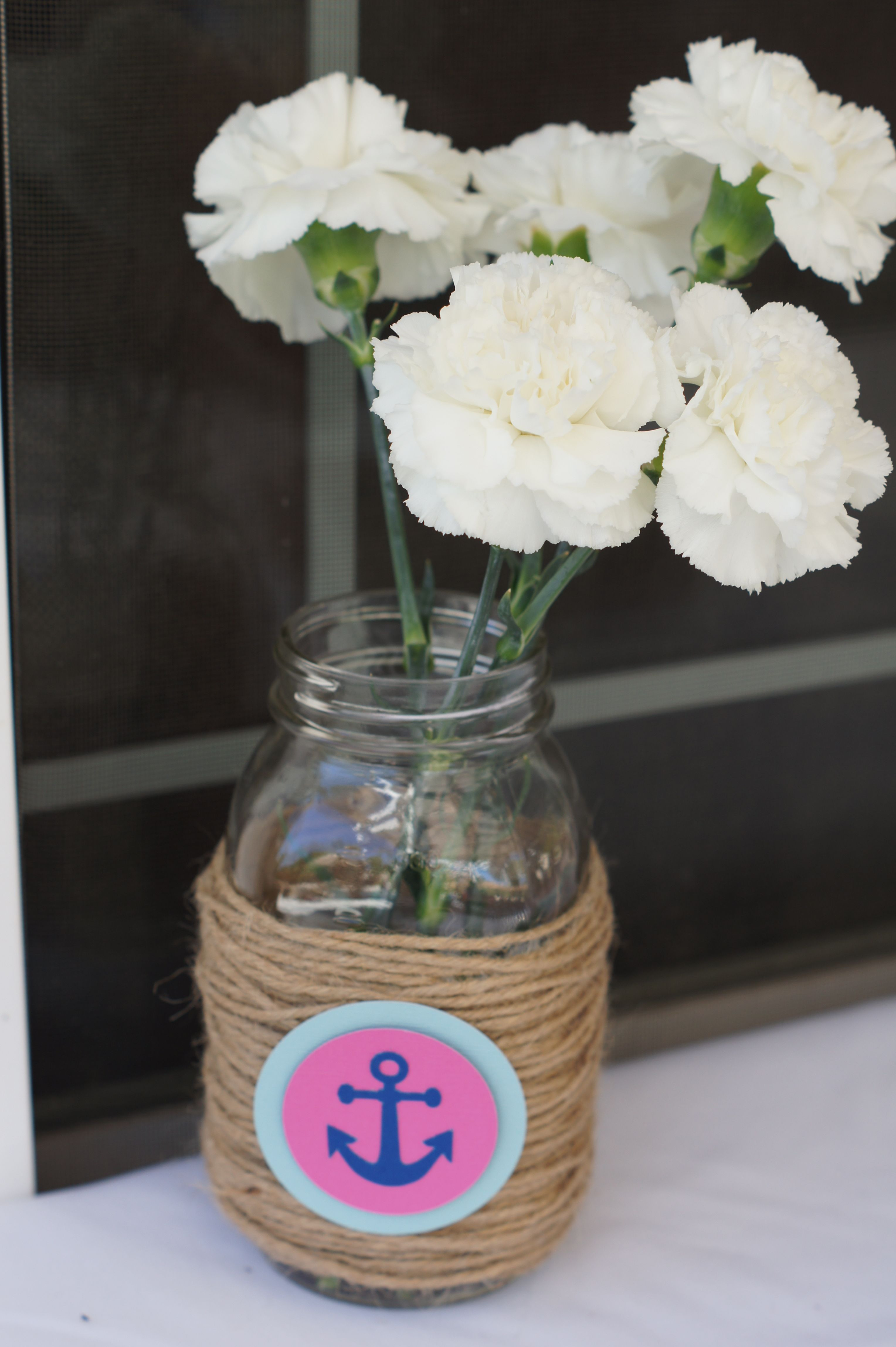 rope vase of twine around jars with flowers cute decor idea nautical themed in babies