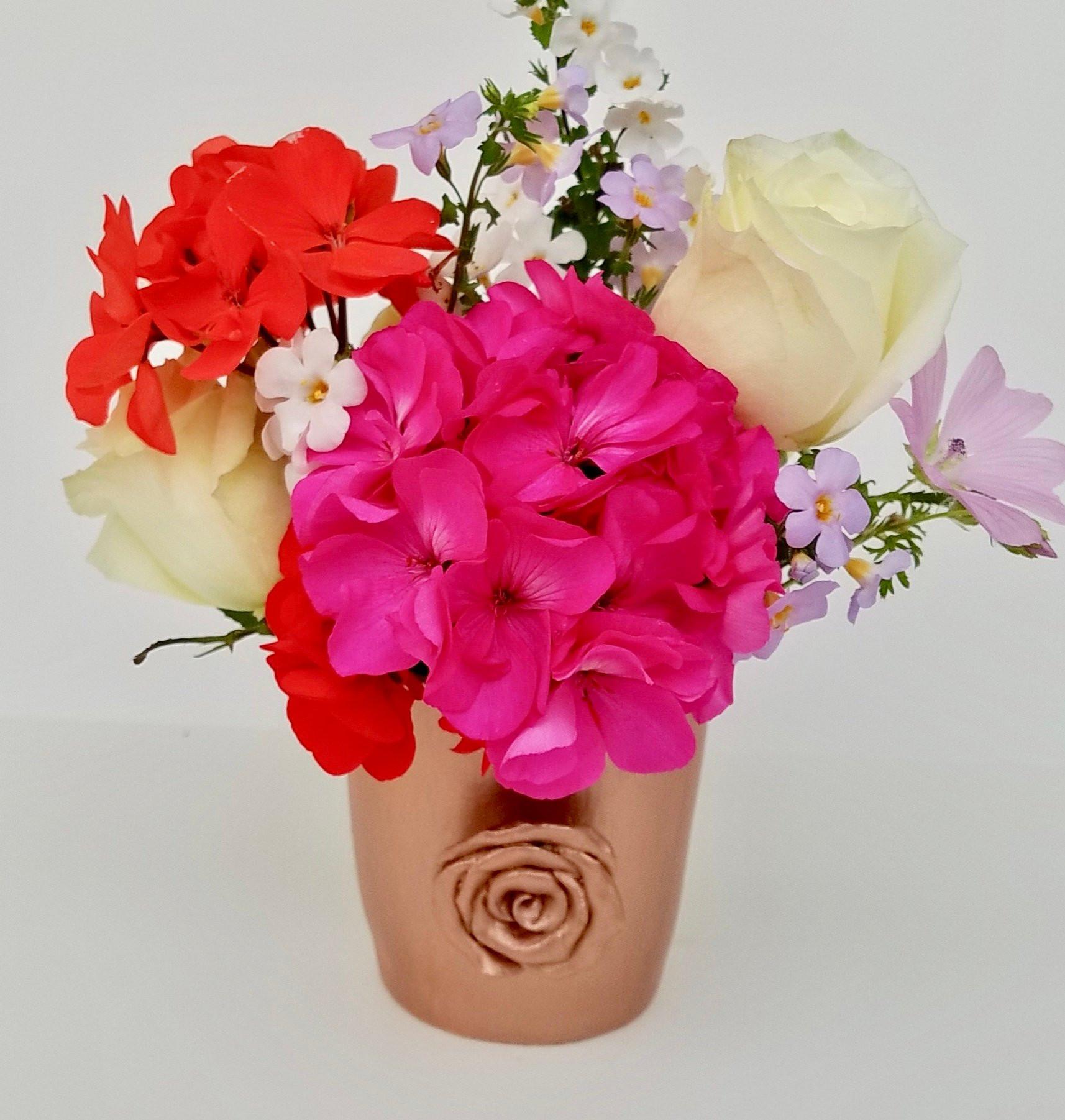 "rose gold bud vase of vase handmade ceramic rose gold metallic finish rose design etsy within dŸ""Žzoom"