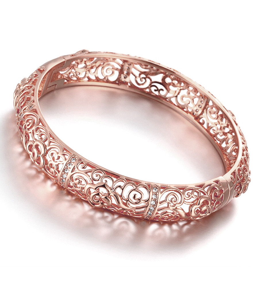 rose gold crackle vase of ₩womens 18kgp rose gold colour hollow out flower charms bracelets pertaining to gift box