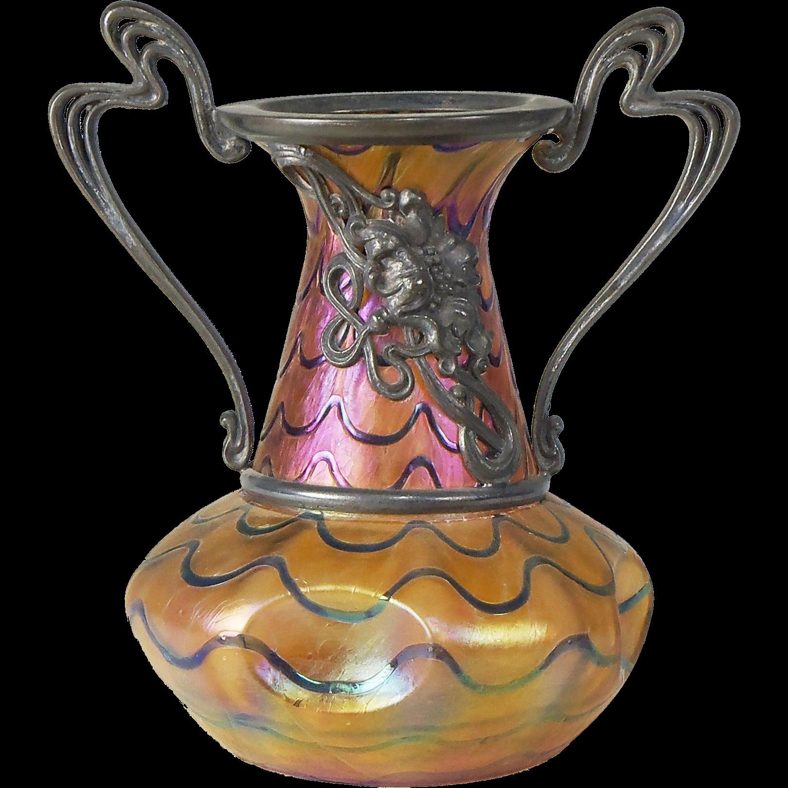 rose gold crackle vase of kralik iridescent blue on gold art glass vase with art nouveau metal inside kralik iridescent blue on gold art glass vase with art nouveau metal mounts antique art glass vase 19th century art glass