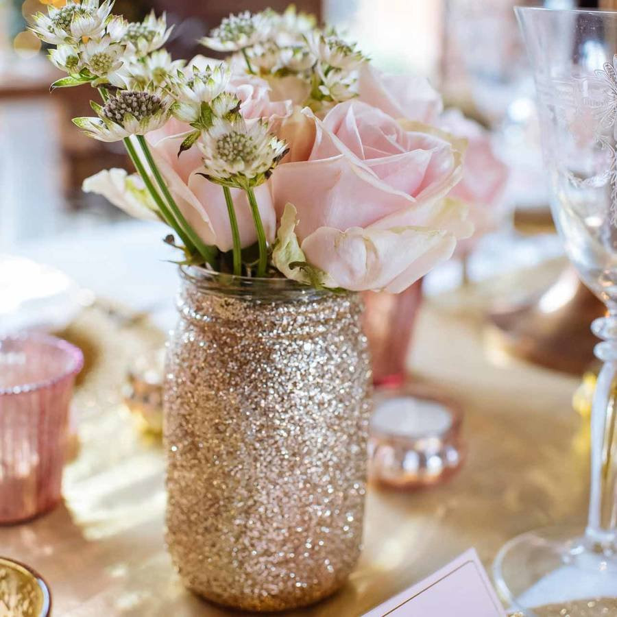 Rose Gold Cylinder Vase Of Gold Glitter Jar Vase by the Wedding Of My Dreams within Gold Glitter Jar Vase