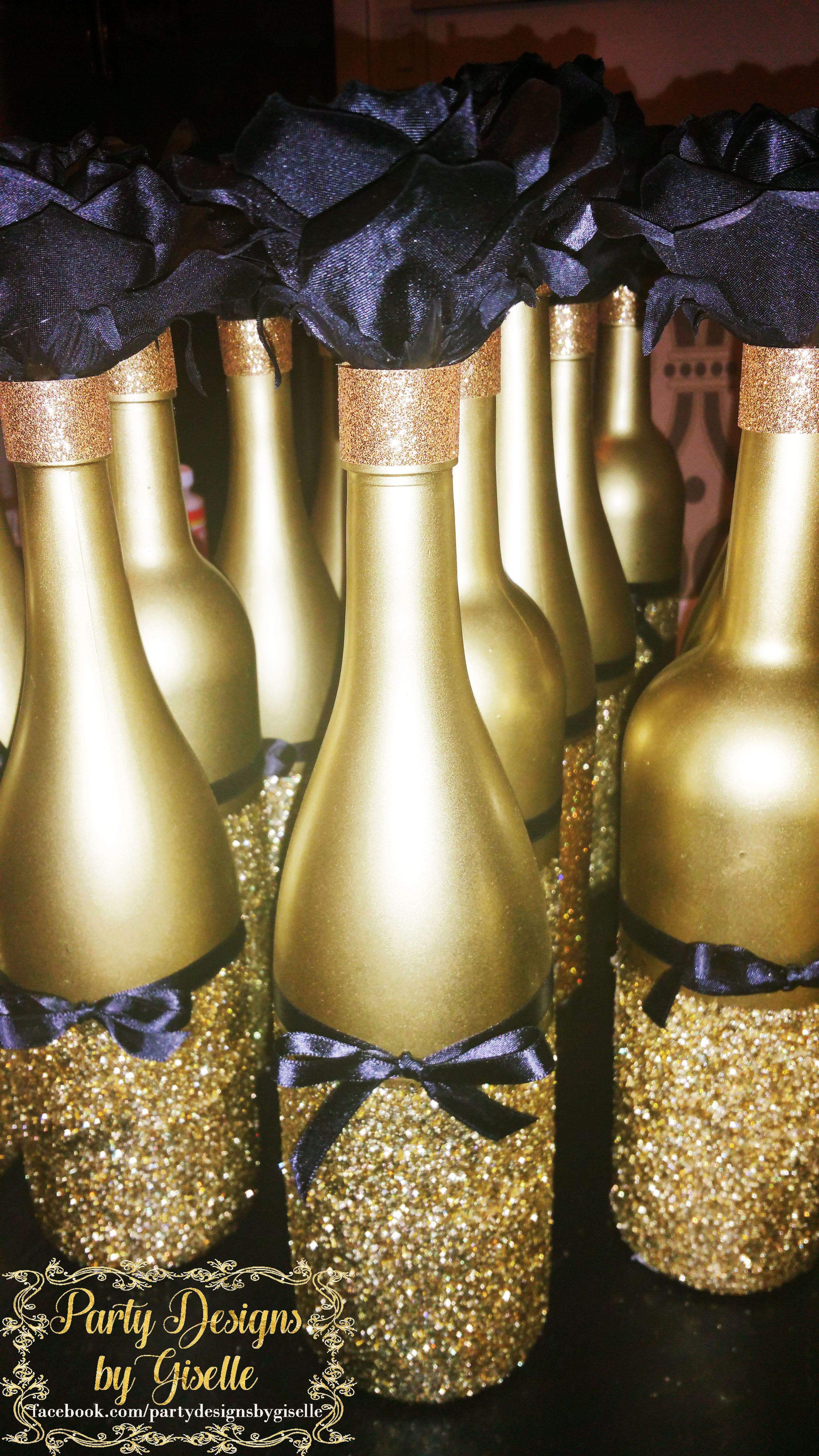 rose gold glitter vase of diy black gold centerpieces spray painted wine bottles mod podge regarding diy black some ribbon and a flowerwine bottle painting