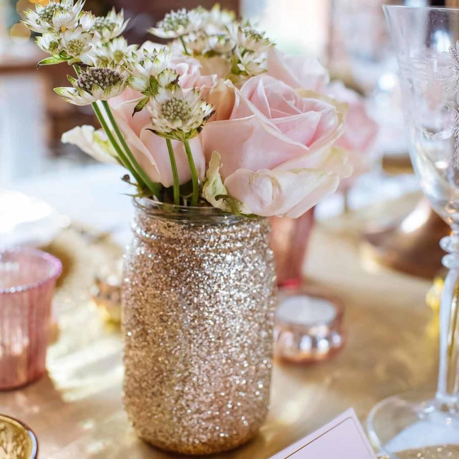 16 Elegant Rose Gold Glitter Vase