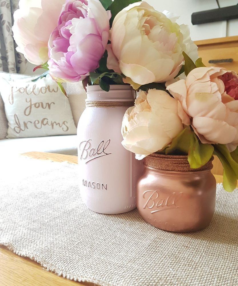 rose gold glitter vase of painted mason jars set of 2 pale pink rose gold perfect for in painted mason jars set of 2 pale pink rose gold perfect for weddings home
