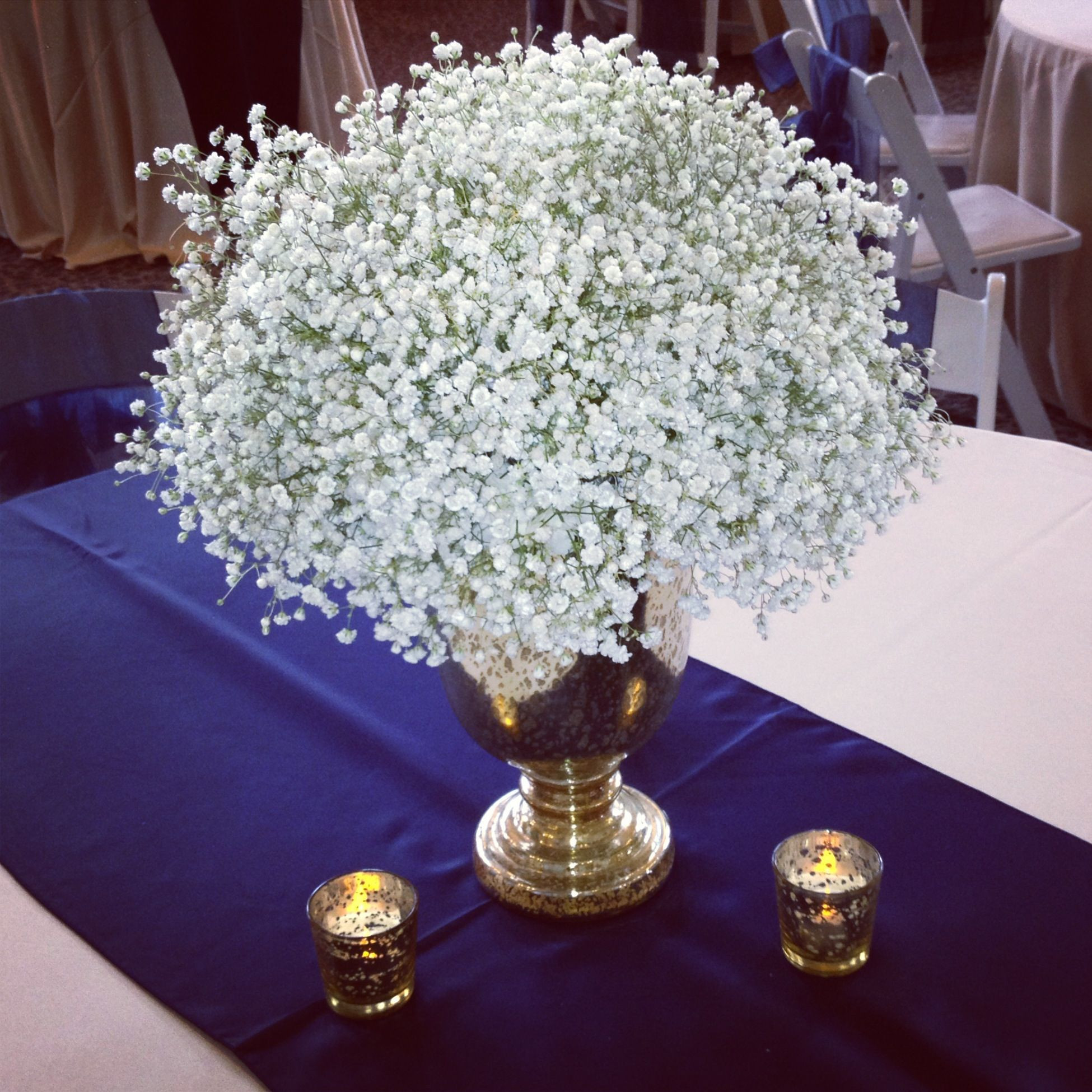 rose gold mercury vase of babys breath on gold mercury low centerpieces pinterest for babys breath on gold mercury