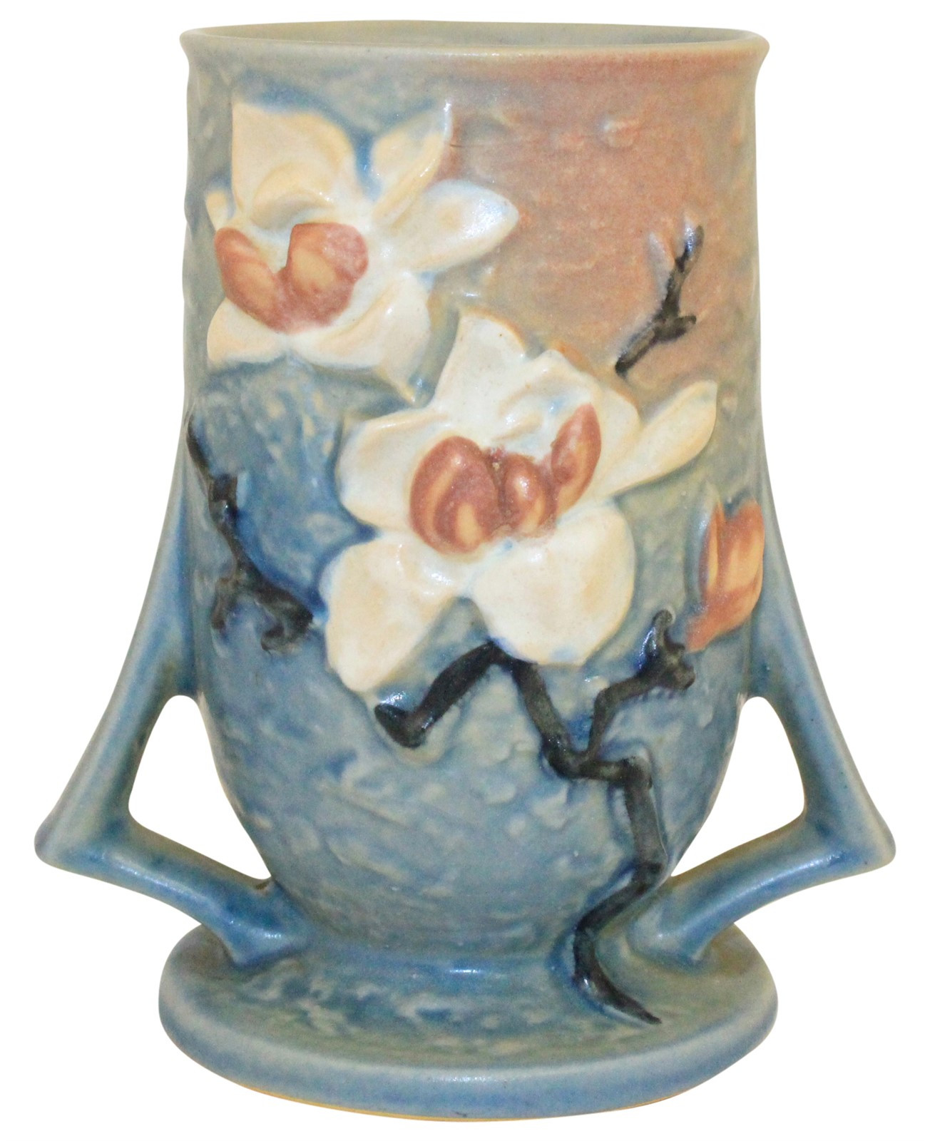 roseville double bud vase of just art pottery from just art pottery in roseville pottery magnolia blue vase 87 6