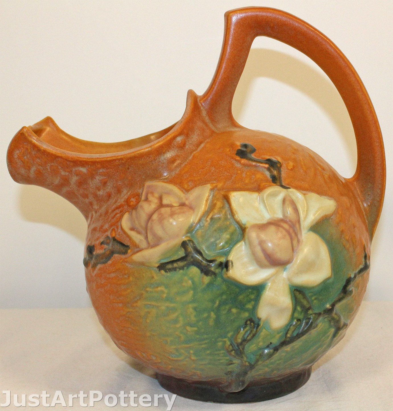 roseville double bud vase of just art pottery from just art pottery inside roseville pottery magnolia brown cider pitcher 1327
