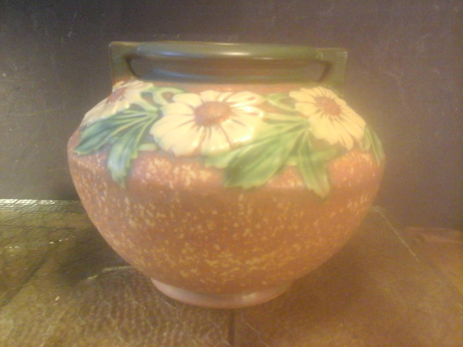 "Roseville Iris Vase Of Roseville Pottery 1920s Dahlrose Bulbous Vase Free Domestic Etsy Pertaining to DŸ""Žzoom"