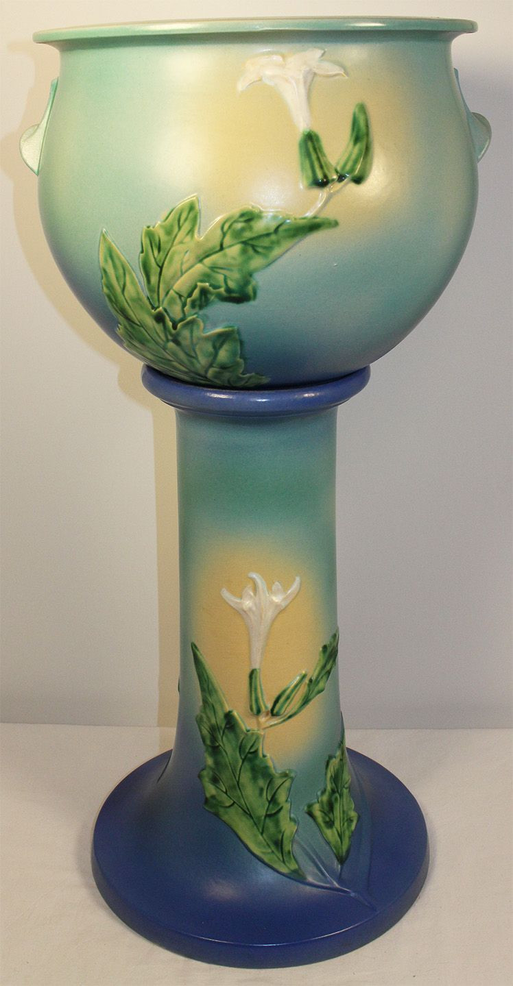 roseville pottery dogwood vase of roseville pottery thorn apple blue jardiniere and pedestal 638 10 pertaining to roseville pottery thorn apple blue jardiniere and pedestal 638 10
