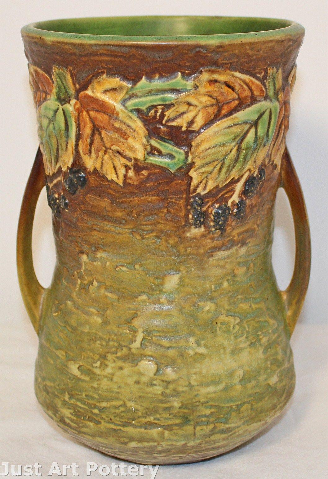 roseville pottery green vase of roseville pottery blackberry basket 334 6 from just art po throughout penchant for pottery a— roseville pottery blackberry vase 577 10 from just art pottery