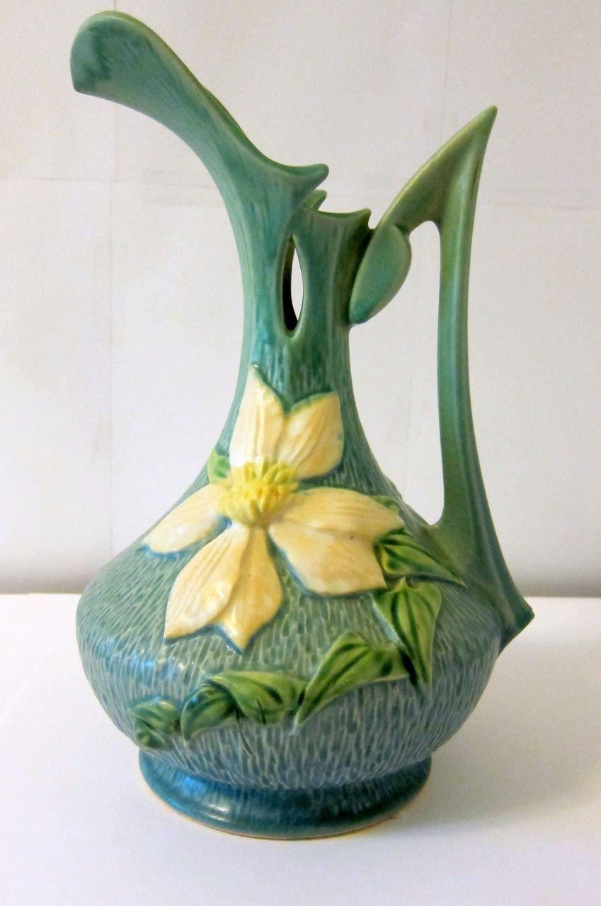 roseville pottery vase clematis of roseville pottery blue clematis ewer hull pottery and other in roseville pottery green blue clematis ewer 17 10 20150 removed