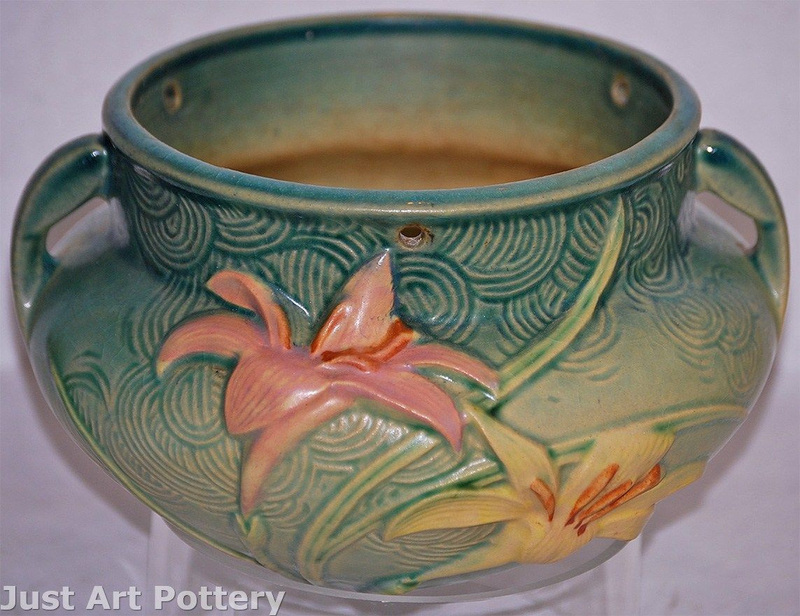 roseville pottery vase clematis of roseville pottery zephyr lily green hanging basket 472 5 from just within roseville pottery zephyr lily green hanging basket 472 5 from just art pottery